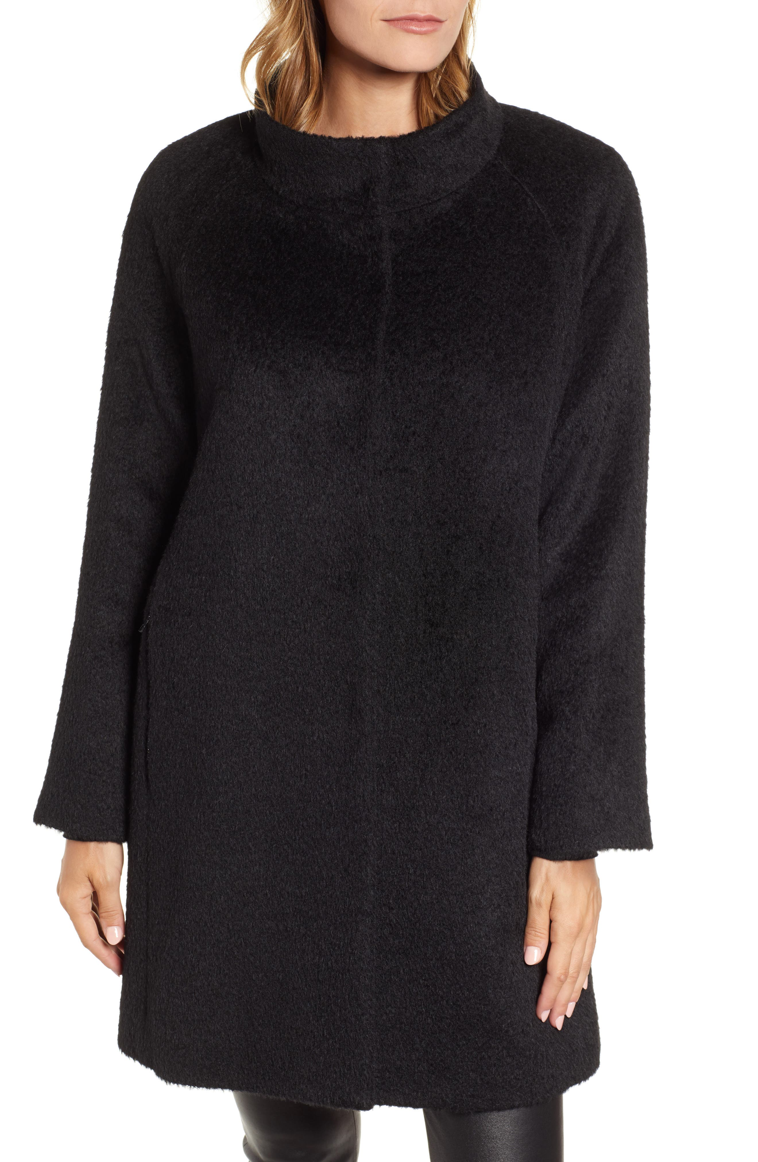Coat with Hooded Bib,                             Alternate thumbnail 4, color,                             BLACK