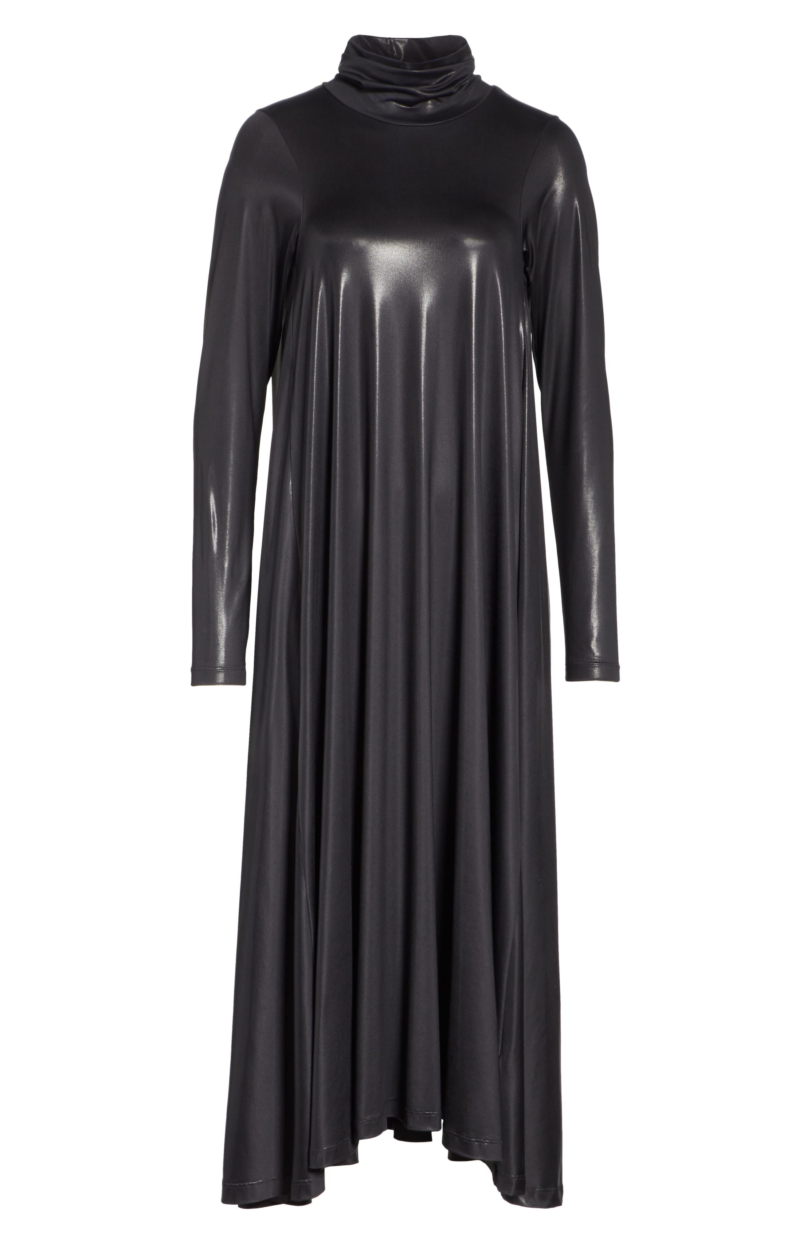 Coated Turtleneck Dress,                             Alternate thumbnail 6, color,                             BLACK