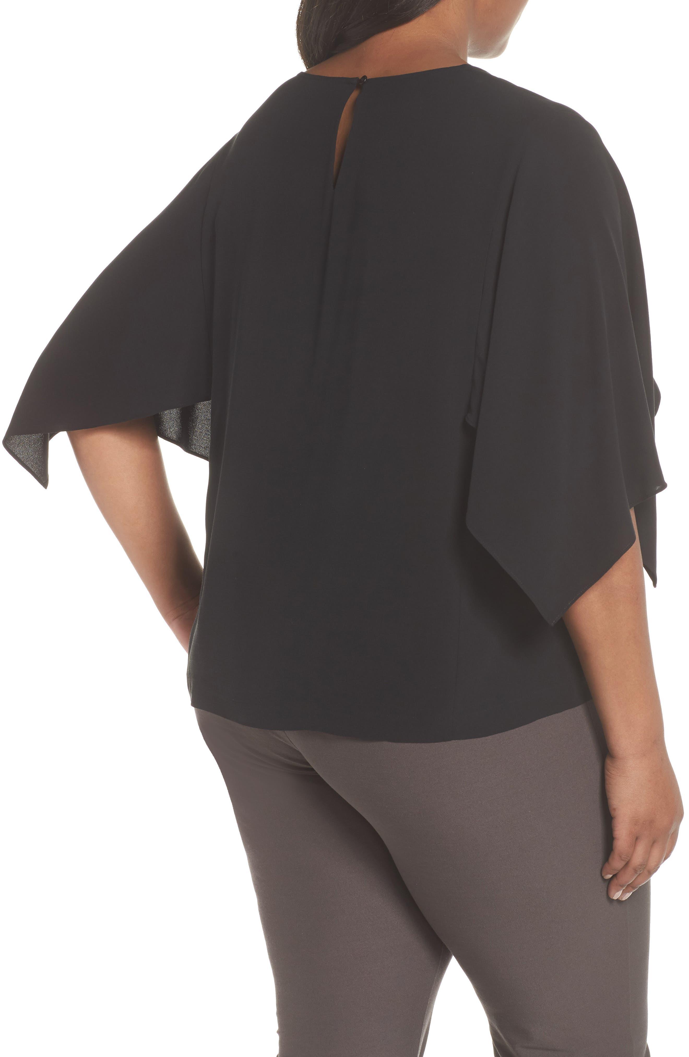Slit Sleeve Silk Top,                             Alternate thumbnail 2, color,                             001