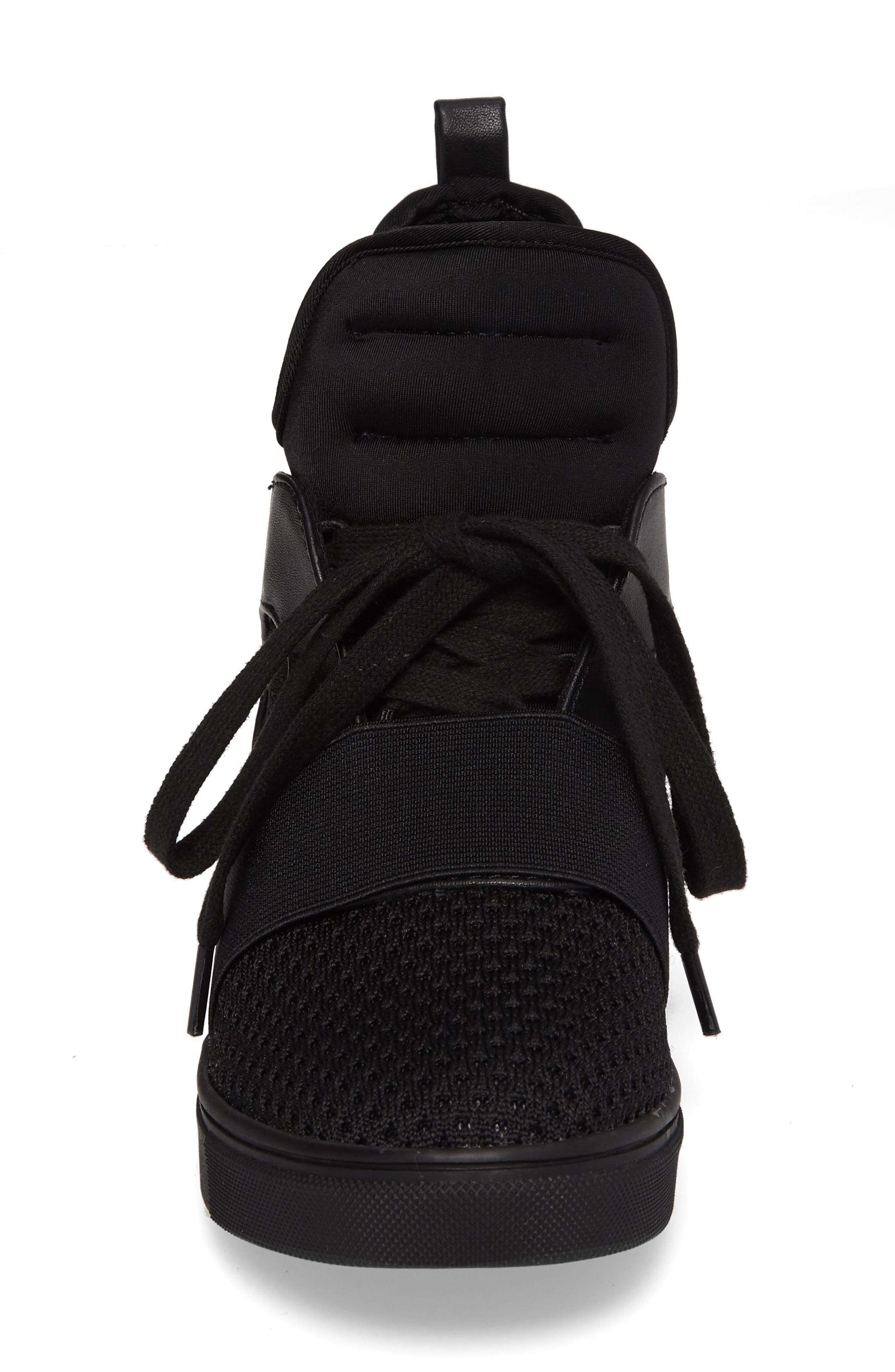 Lexie Wedge Sneaker,                             Alternate thumbnail 4, color,                             001