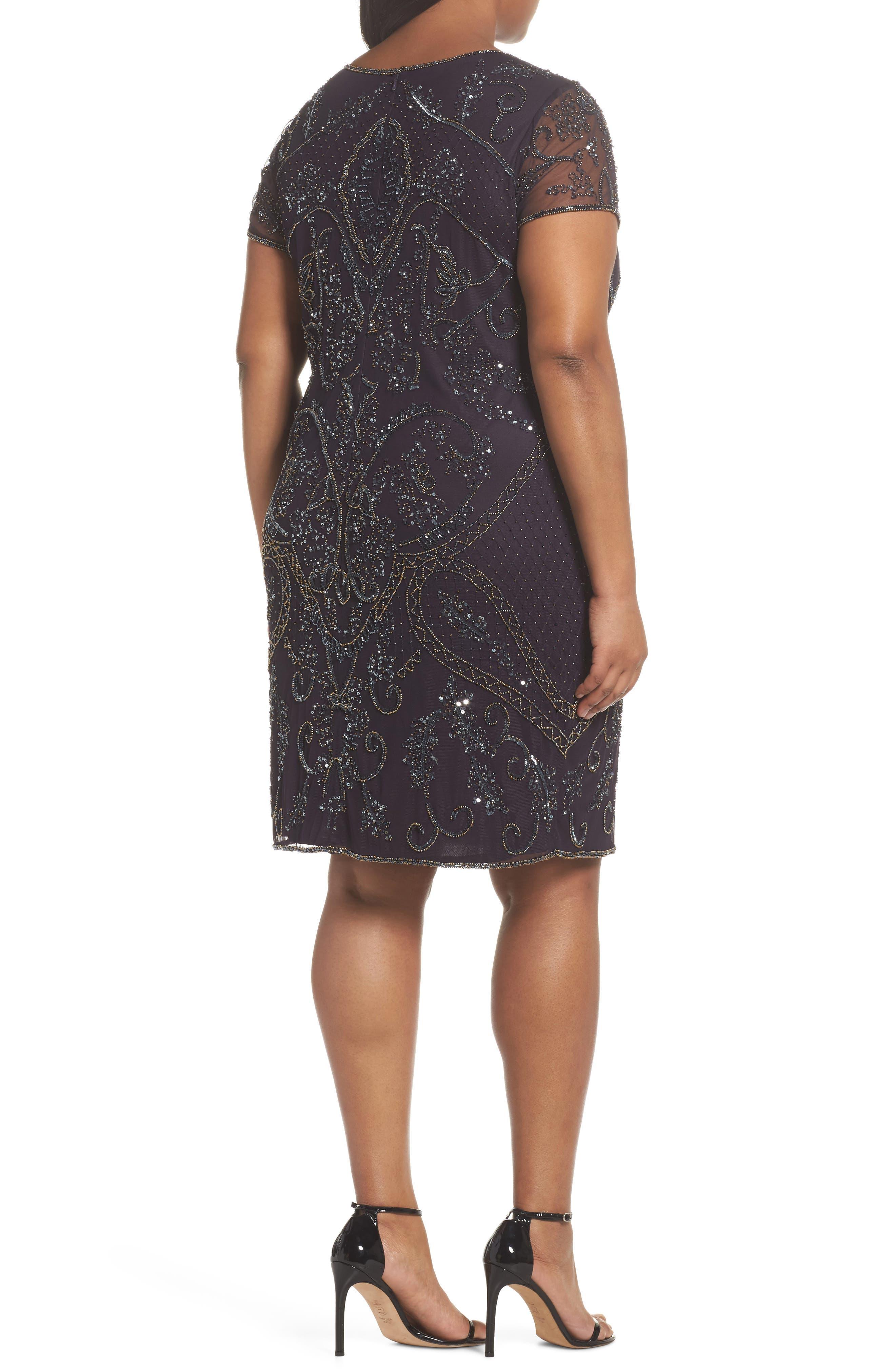 Embellished Mesh Sheath Dress,                             Alternate thumbnail 2, color,                             930