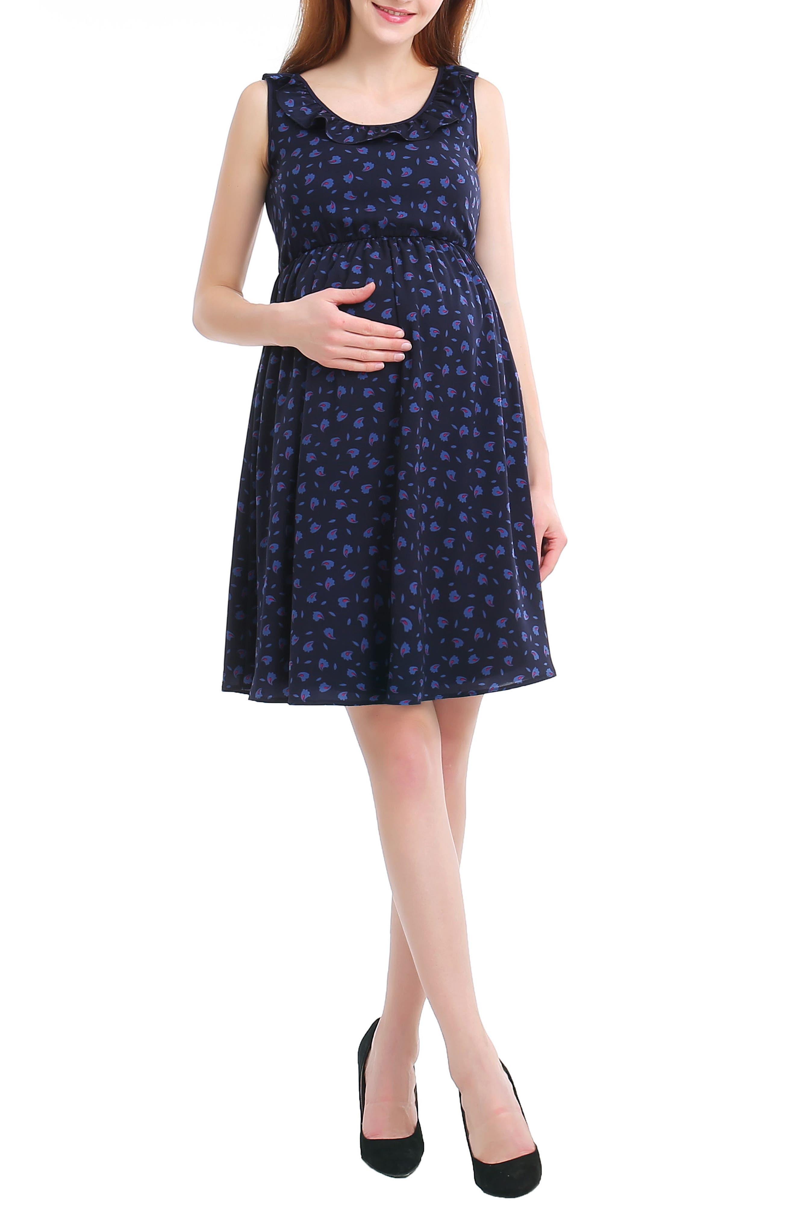 Brooke Print Skater Maternity Dress,                         Main,                         color, NAVY