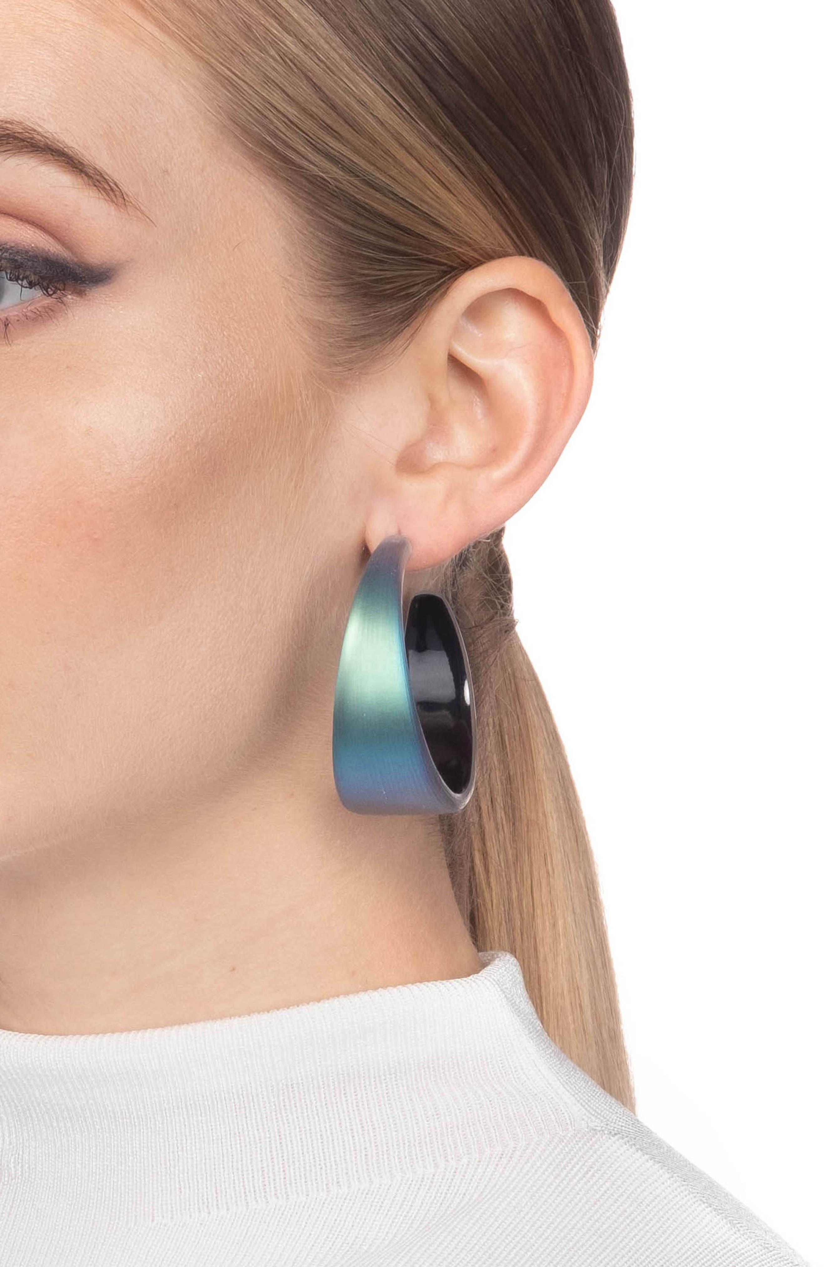 ALEXIS BITTAR,                             Wide Graduated Medium Hoop Earrings,                             Alternate thumbnail 2, color,                             BLACK BEETLE