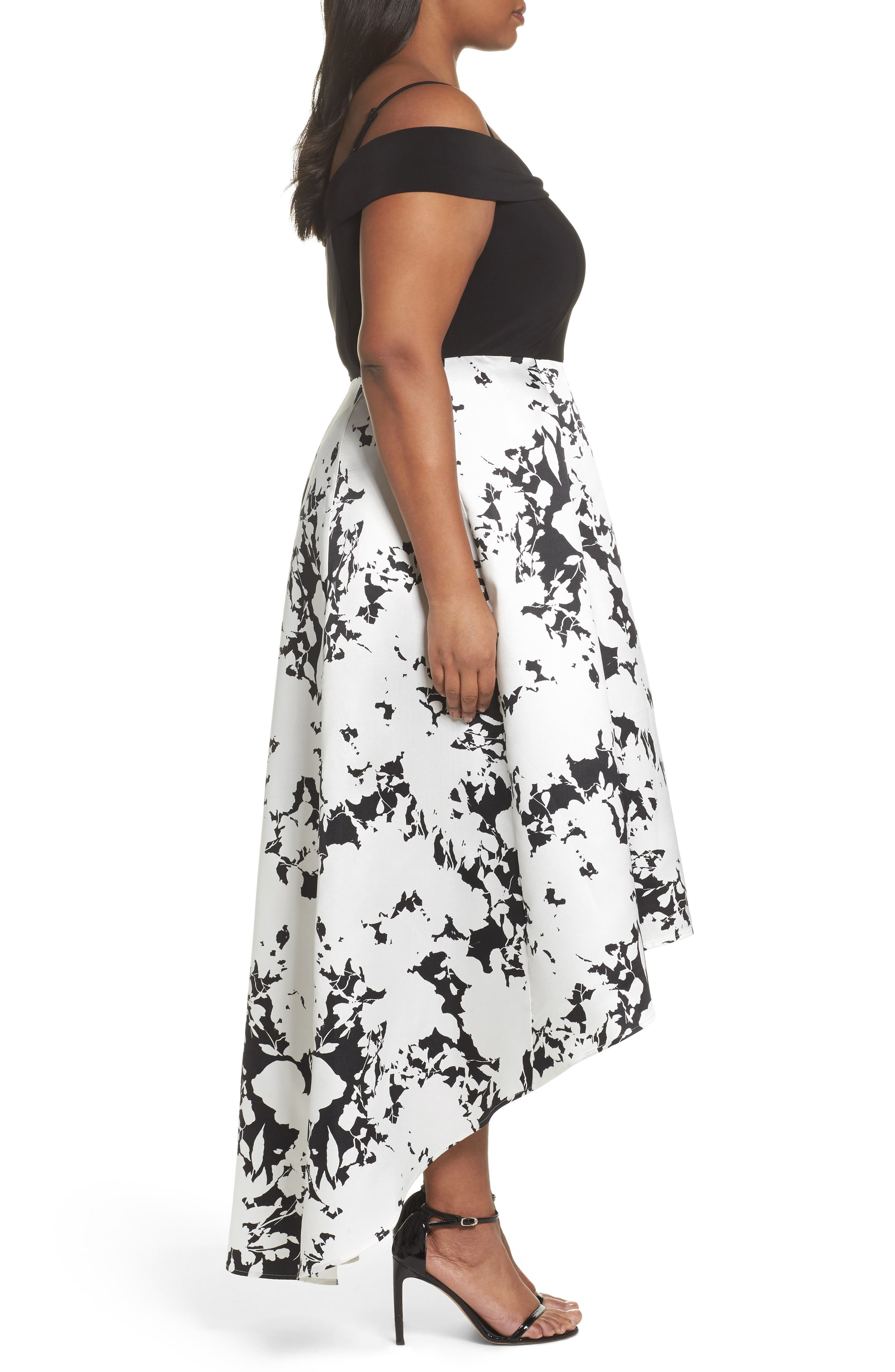 Off the Shoulder Print High/Low Gown,                             Alternate thumbnail 3, color,                             001