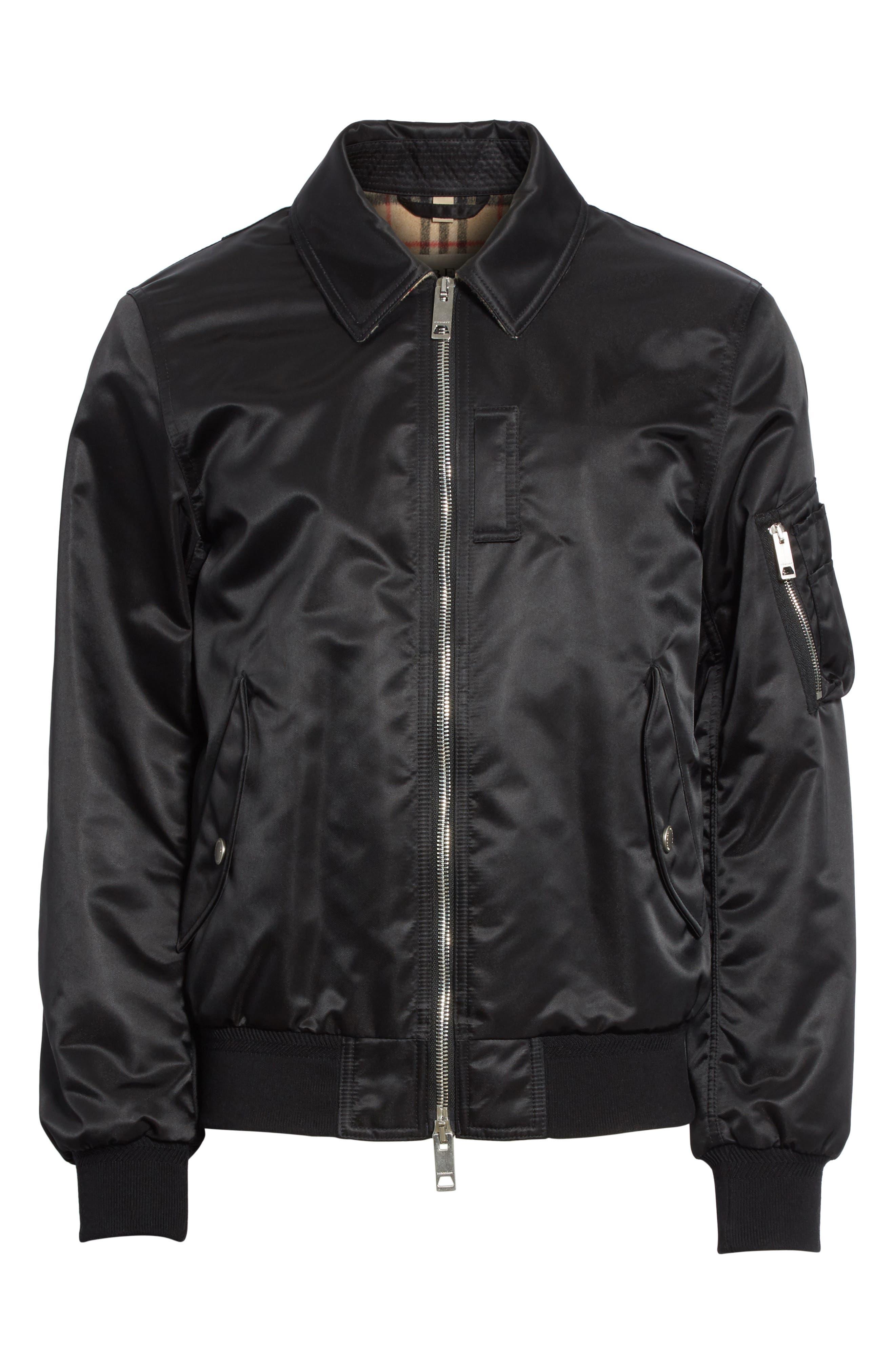 Pipley Spread Collar Bomber Jacket,                             Alternate thumbnail 5, color,                             001