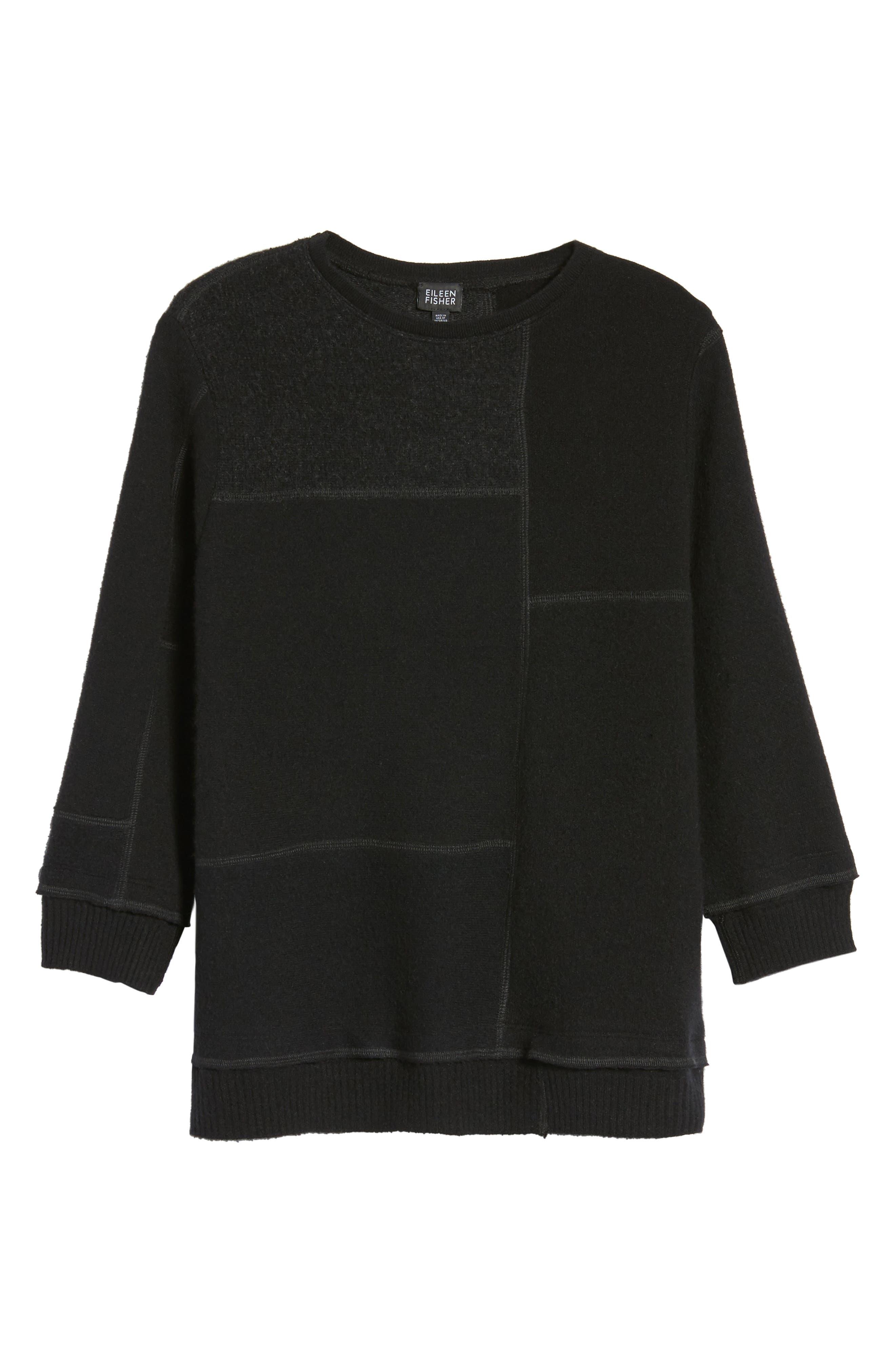 Colorblock Cashmere Sweater,                             Alternate thumbnail 6, color,                             001