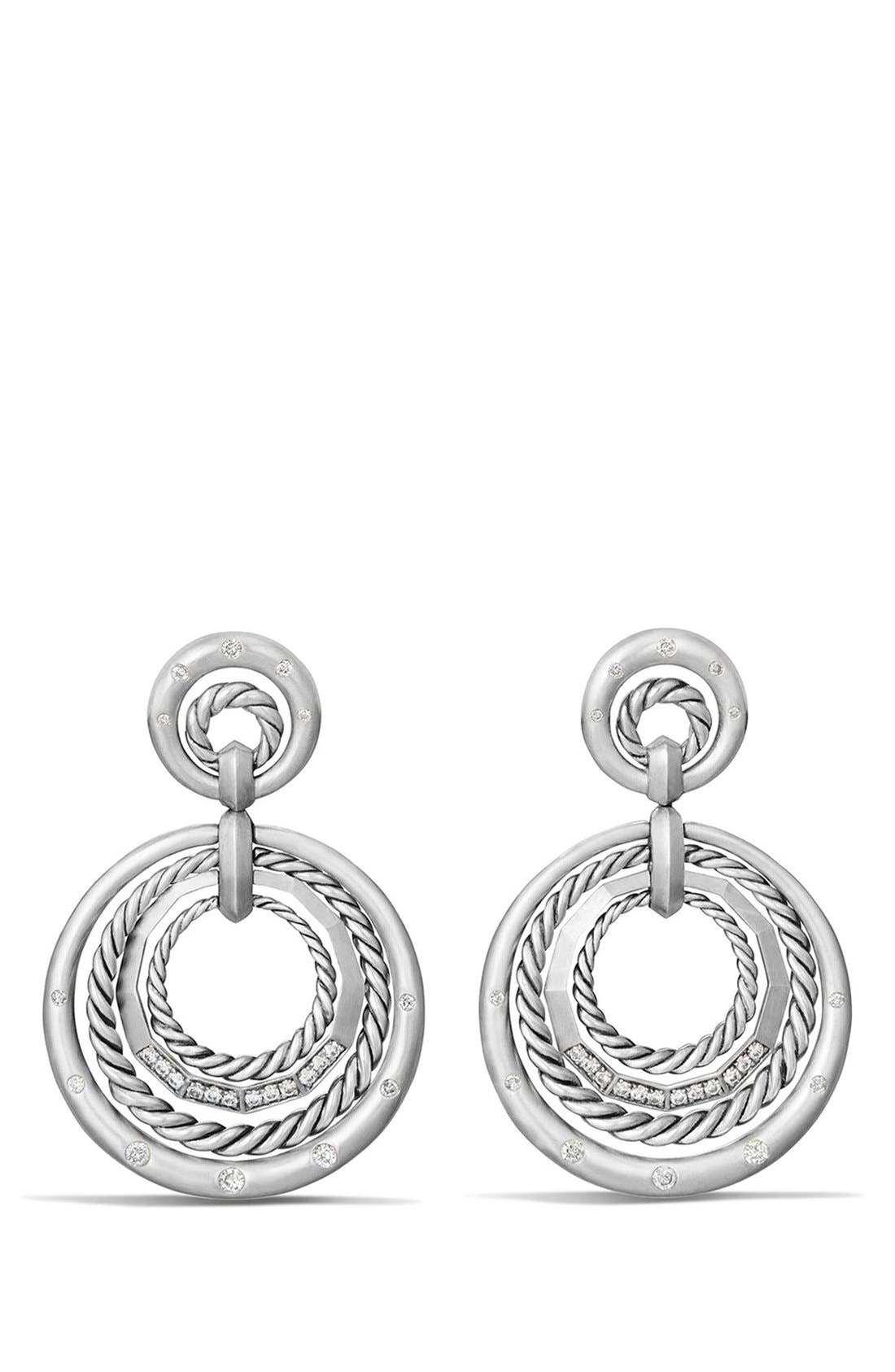 DAVID YURMAN 'Stax' Diamond Drop Earrings, Main, color, SILVER