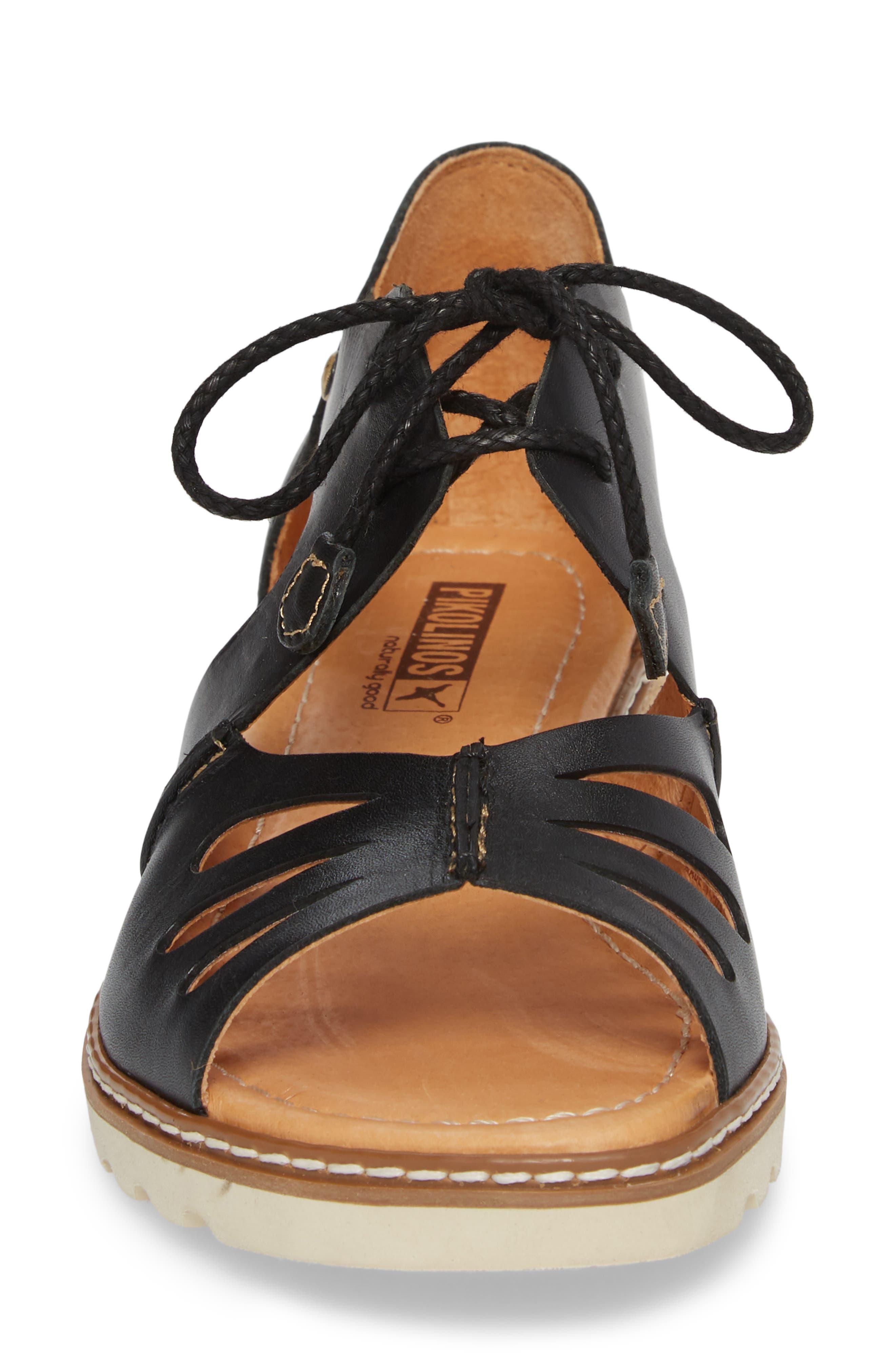 Alcudia Lace-Up Sandal,                             Alternate thumbnail 4, color,                             BLACK LEATHER