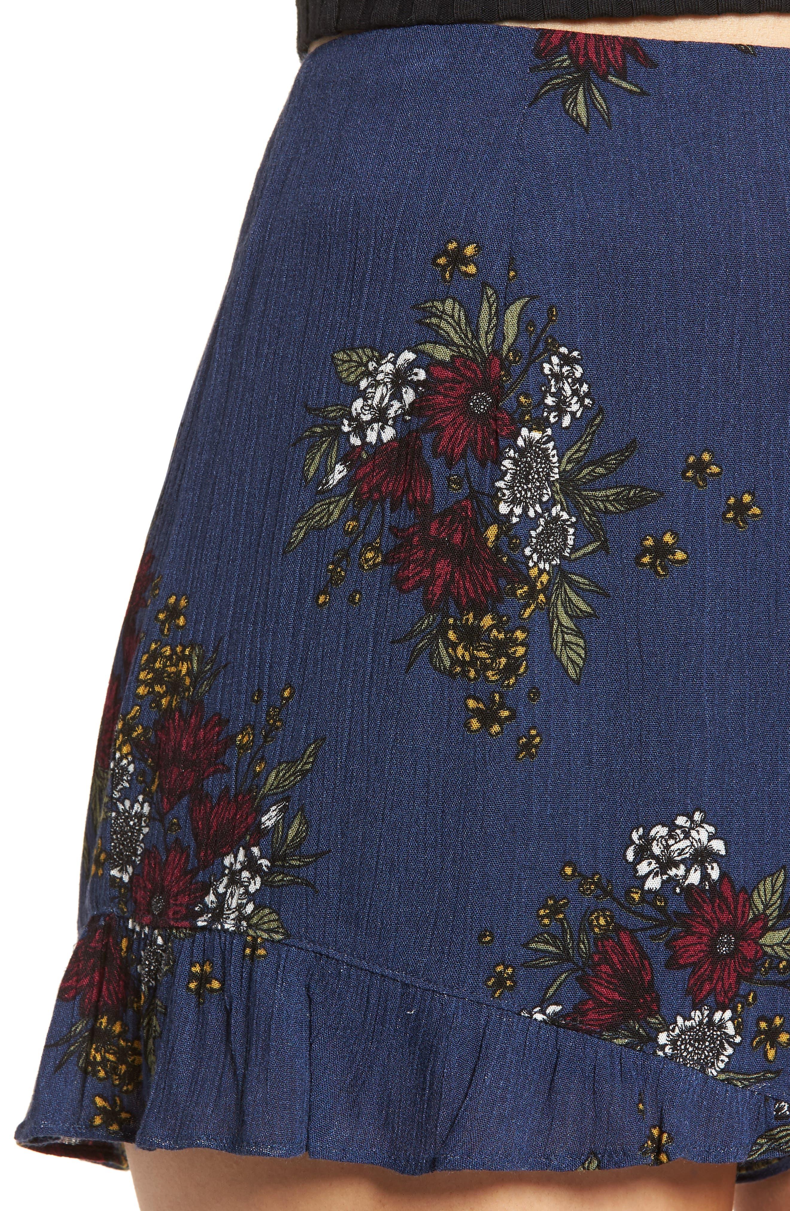 Theia Floral Ruffle Hem Shorts,                             Alternate thumbnail 4, color,                             402