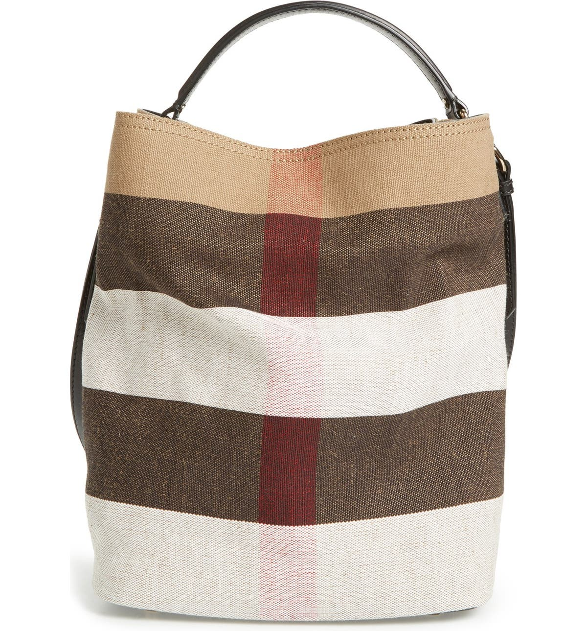 Burberry  Medium Susanna - Mega Check  Jute   Cotton Bucket Bag ... b439273ba73b3