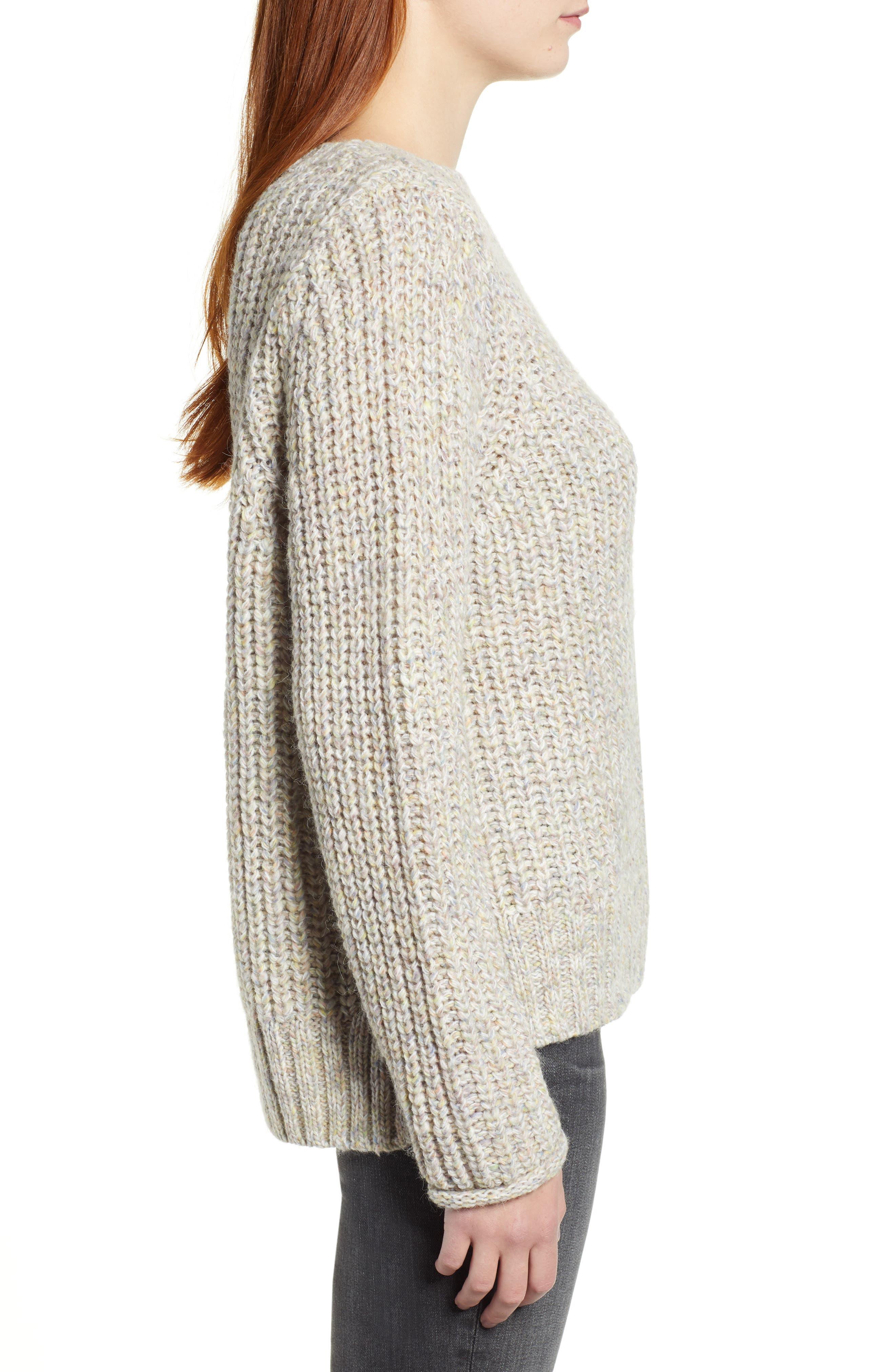 Boat Neck Sweater,                             Alternate thumbnail 3, color,                             BEIGE POPCORN PATTERN