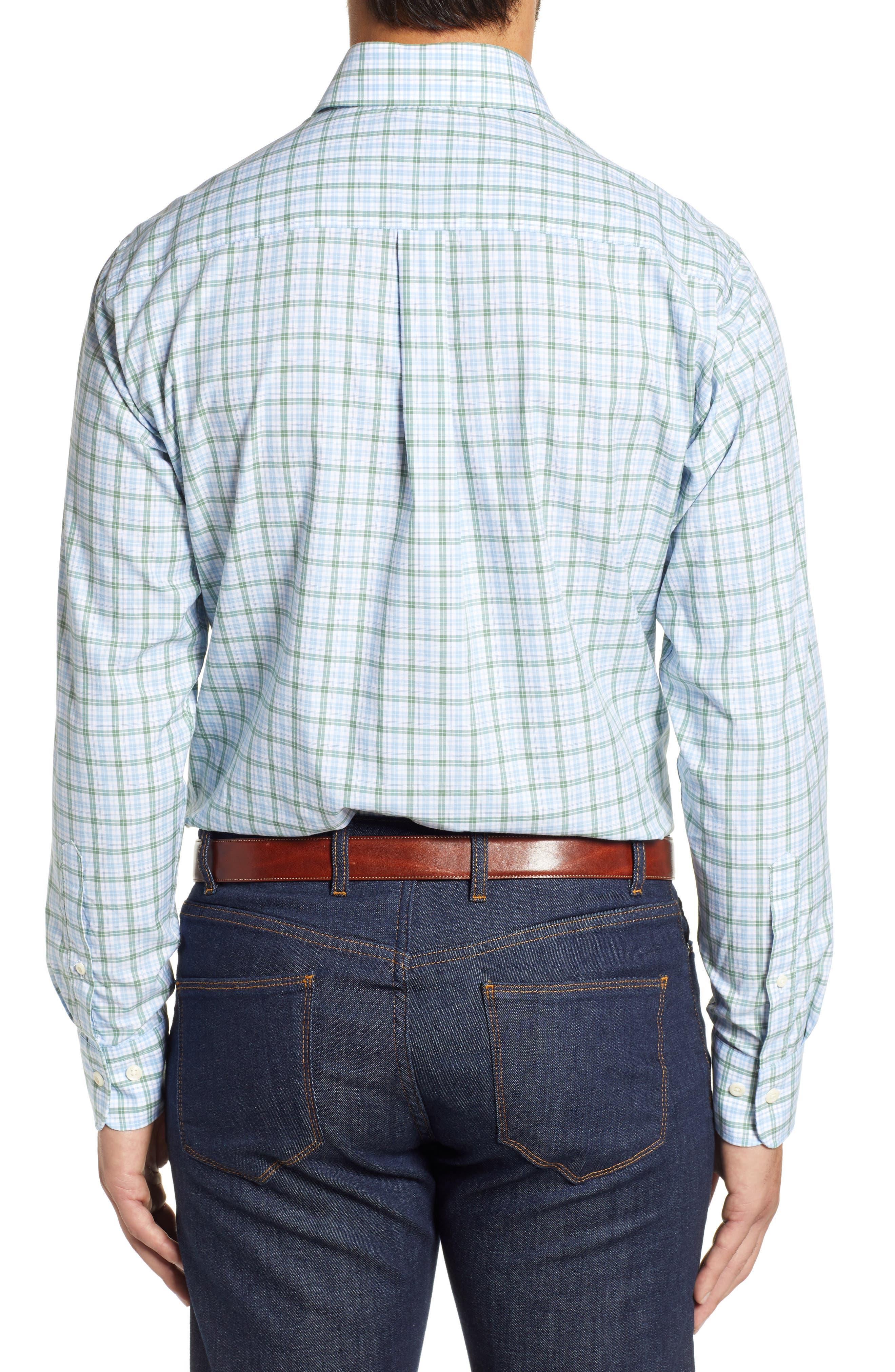 Crown Finish Linden Check Regular Fit Sport Shirt,                             Alternate thumbnail 3, color,                             BLUE