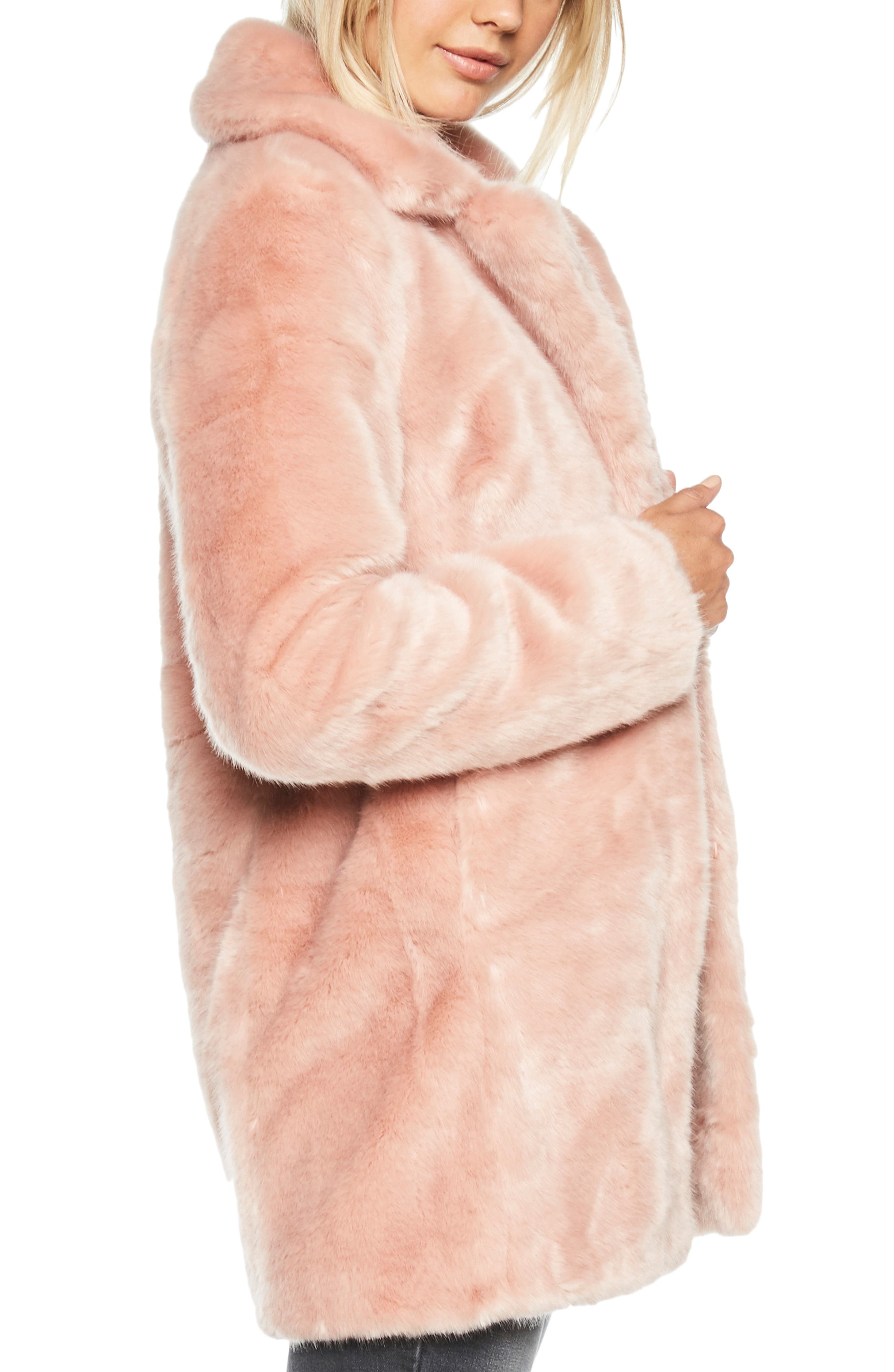 Faux Fur Coat,                             Alternate thumbnail 3, color,                             BLUSH PINK