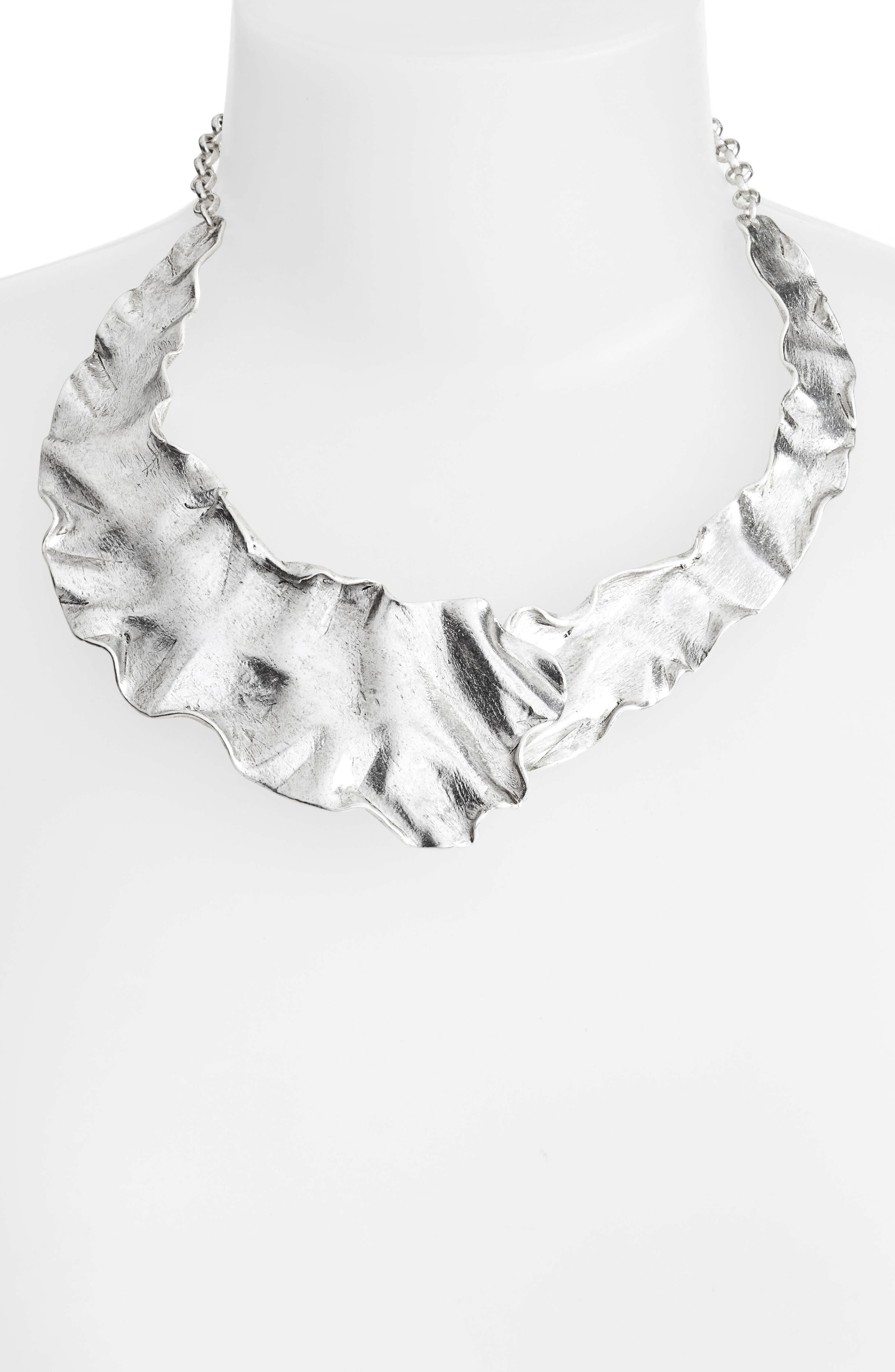 Gold Plate Collar Necklace,                             Alternate thumbnail 3, color,