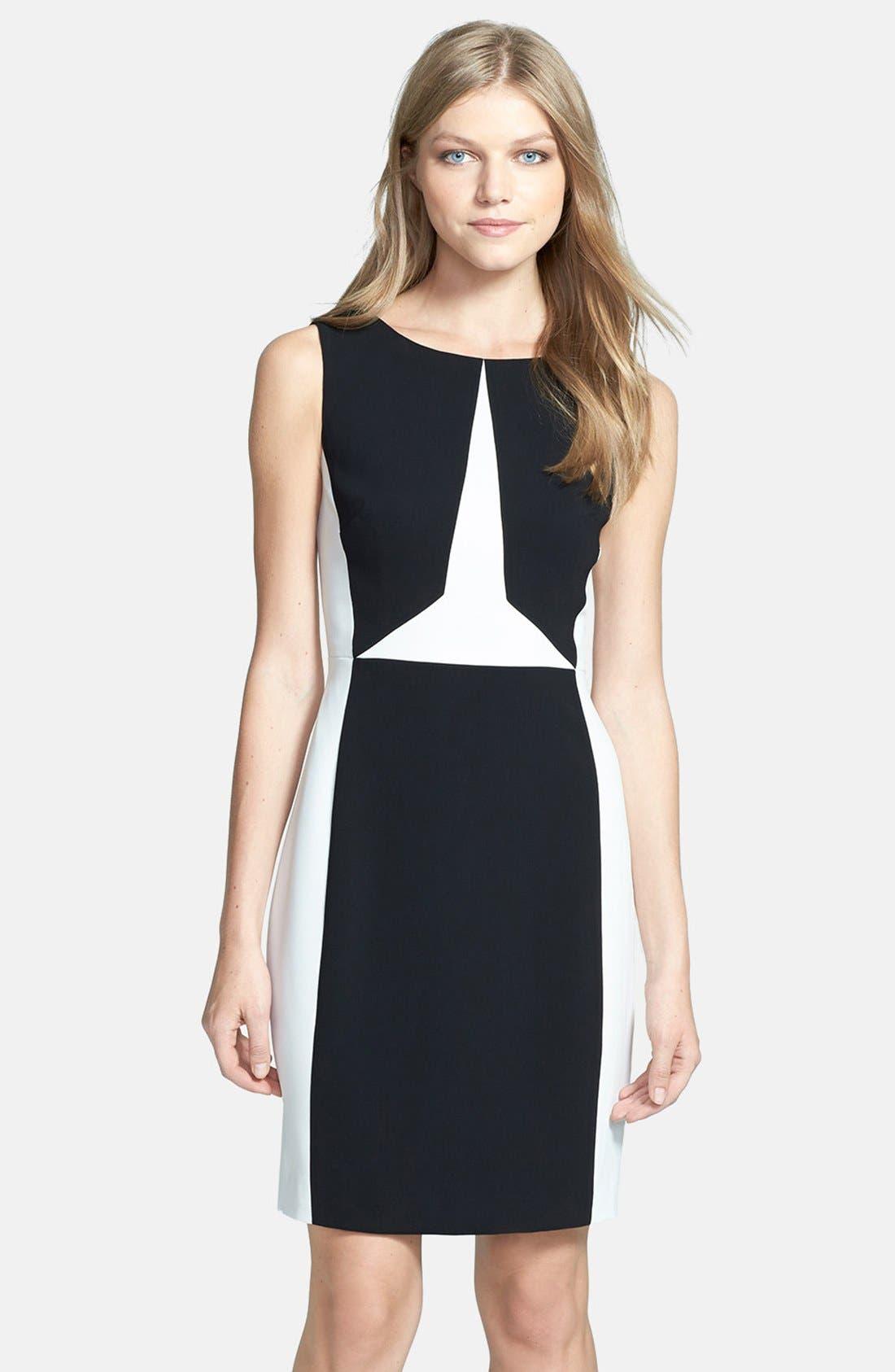 Colorblock Sheath Dress,                             Main thumbnail 1, color,                             001
