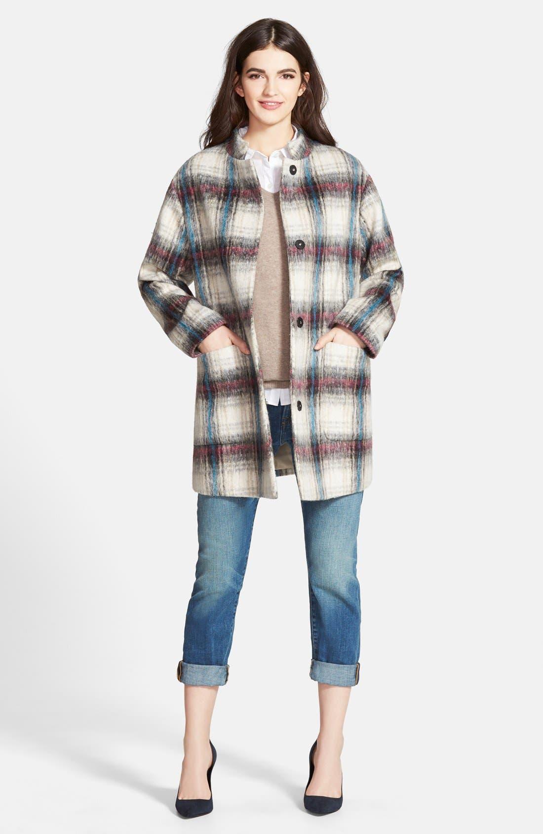 Drop Shoulder Plaid Wool Blend Coat,                             Alternate thumbnail 7, color,                             250