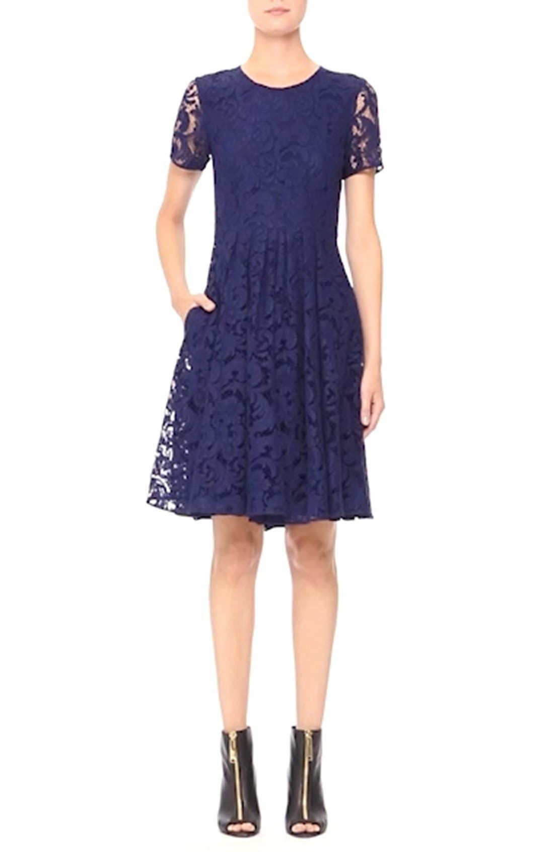 BURBERRY LONDON,                             'Alice' Short Sleeve Corded Lace Fit & Flare Dress,                             Alternate thumbnail 5, color,                             495