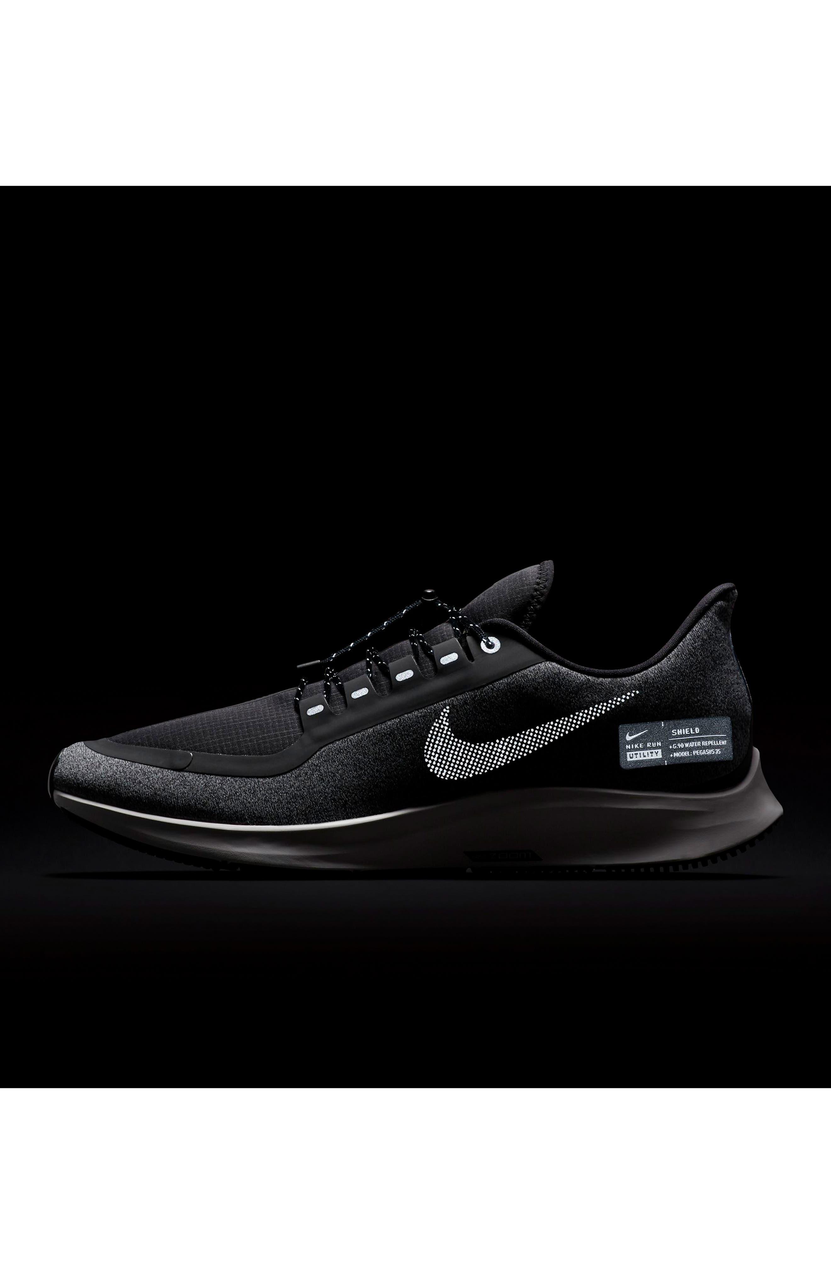 Air Zoom Pegasus 35 Shield Water Repellent Running Shoe,                             Alternate thumbnail 6, color,                             BLACK/ WHITE/ COOL GREY