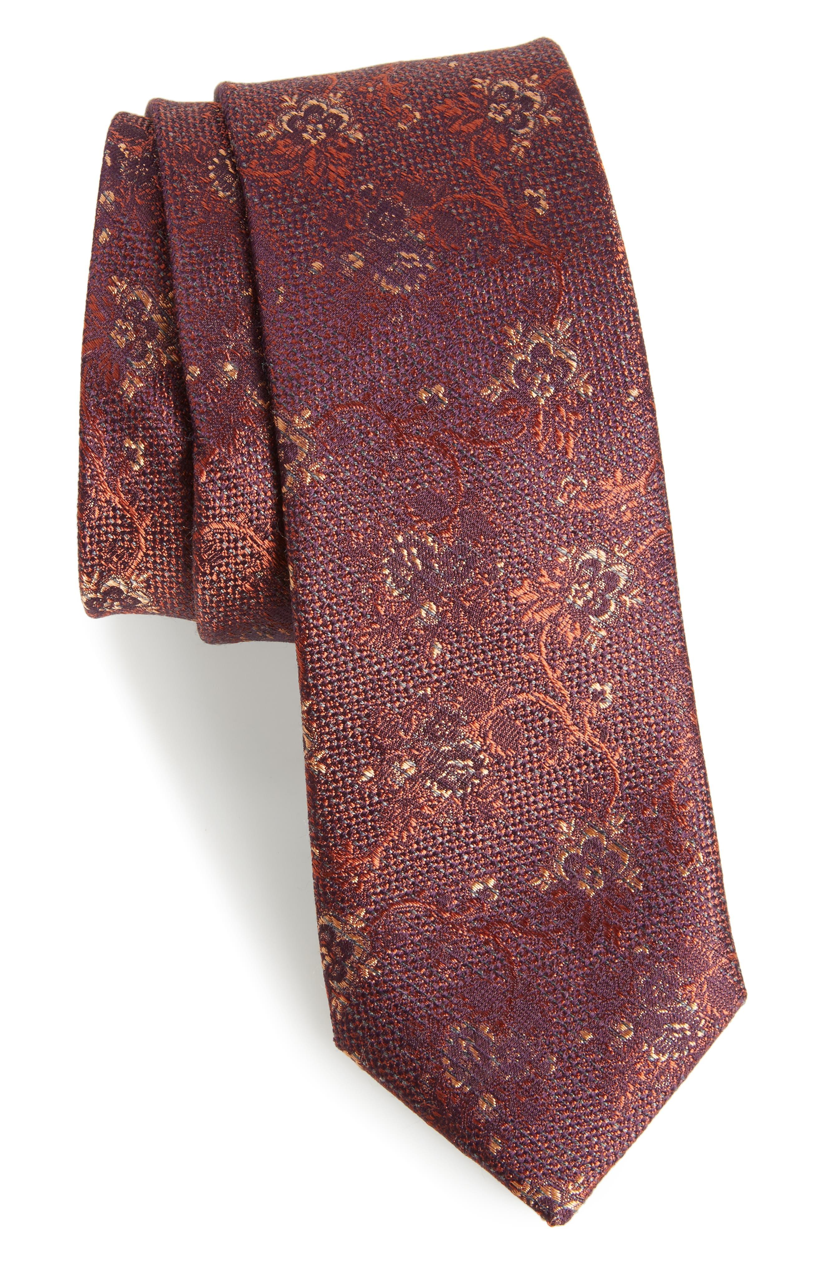 Jacquard Silk Blend Skinny Tie,                             Main thumbnail 1, color,                             220