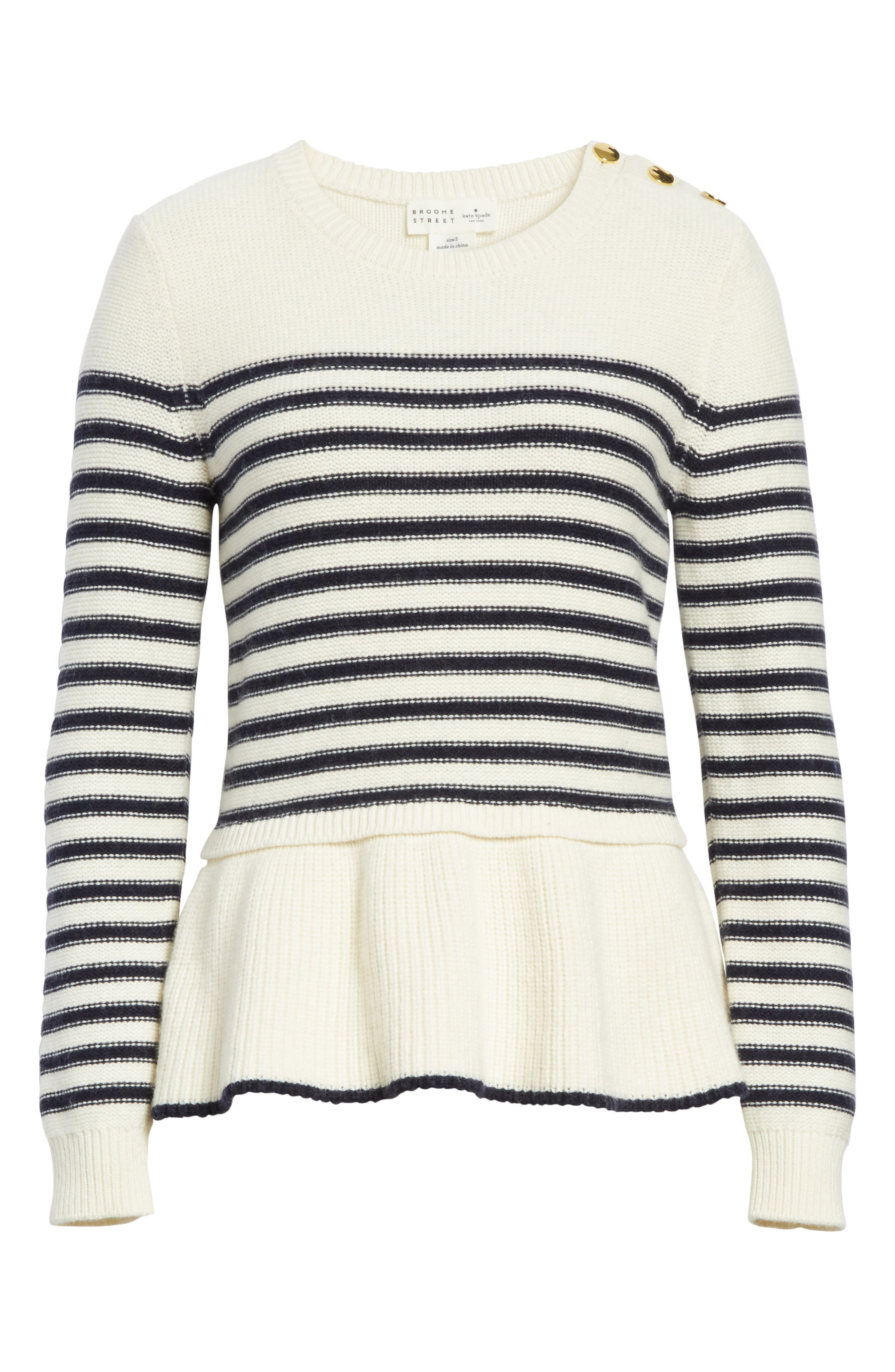 navy stripe peplum sweater,                             Alternate thumbnail 6, color,