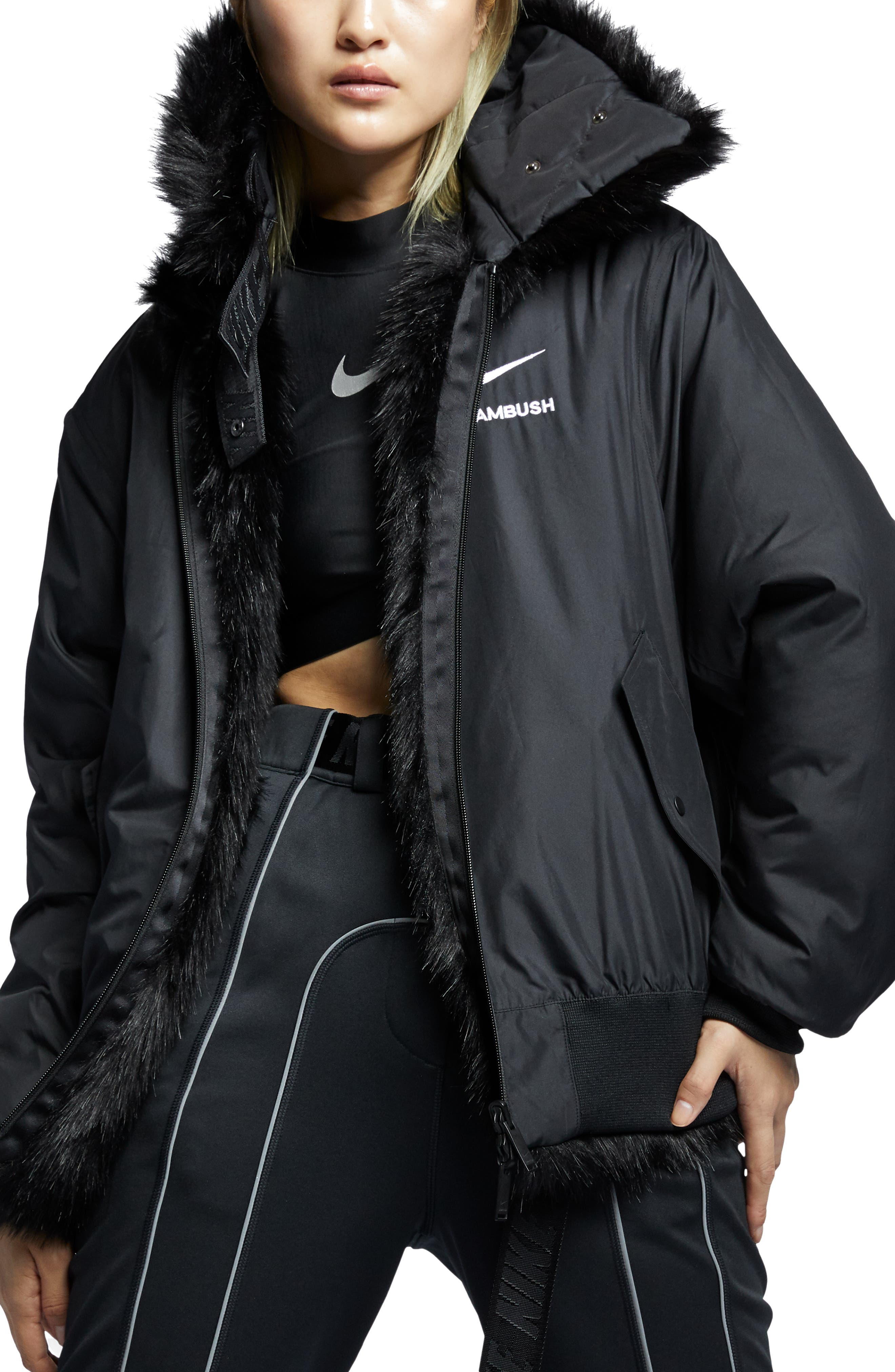 NIKE,                             x Ambush Women's Reversible Faux Fur Coat,                             Alternate thumbnail 2, color,                             010