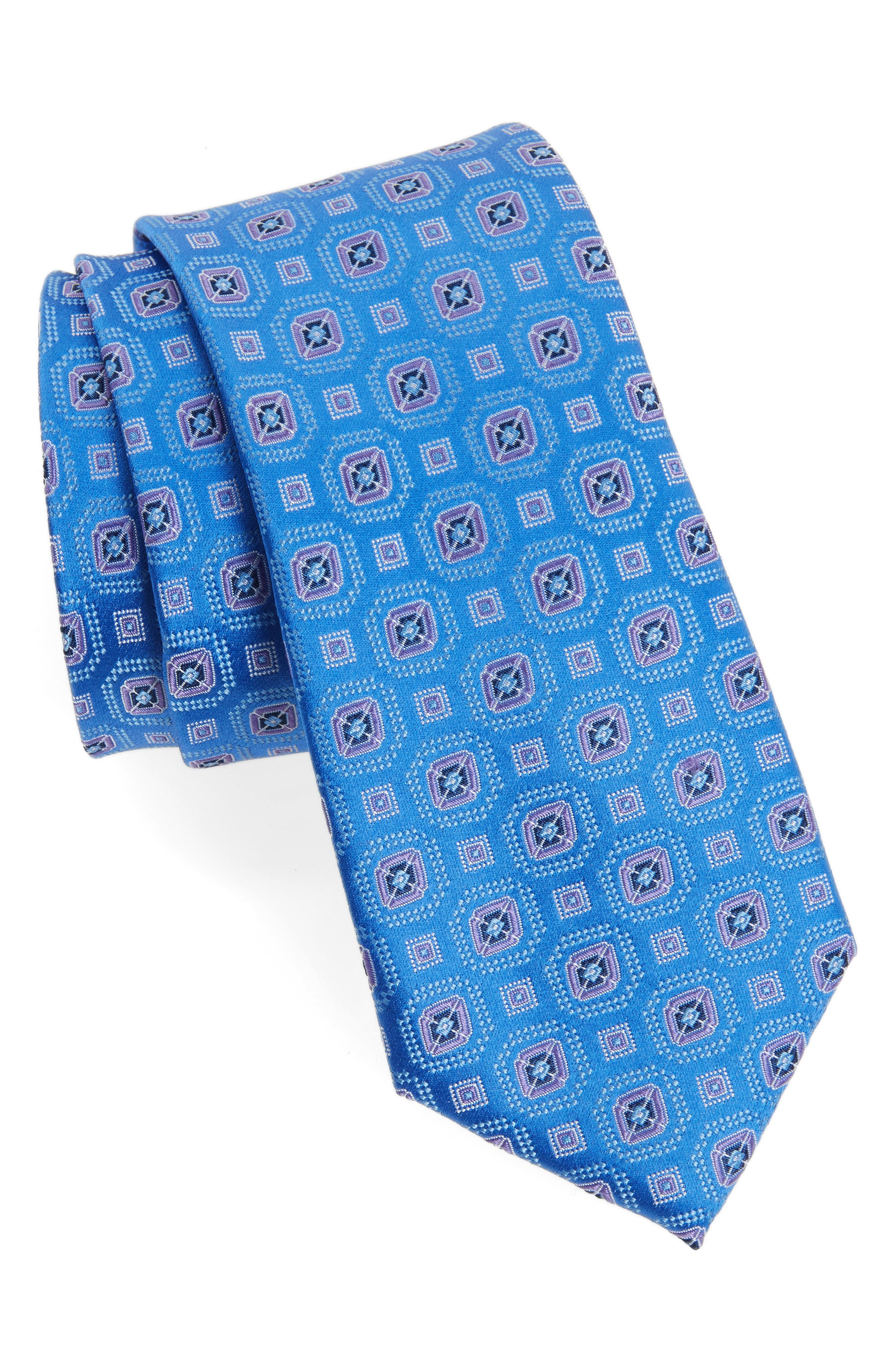 Neat Medallion Silk Tie,                         Main,                         color, 400