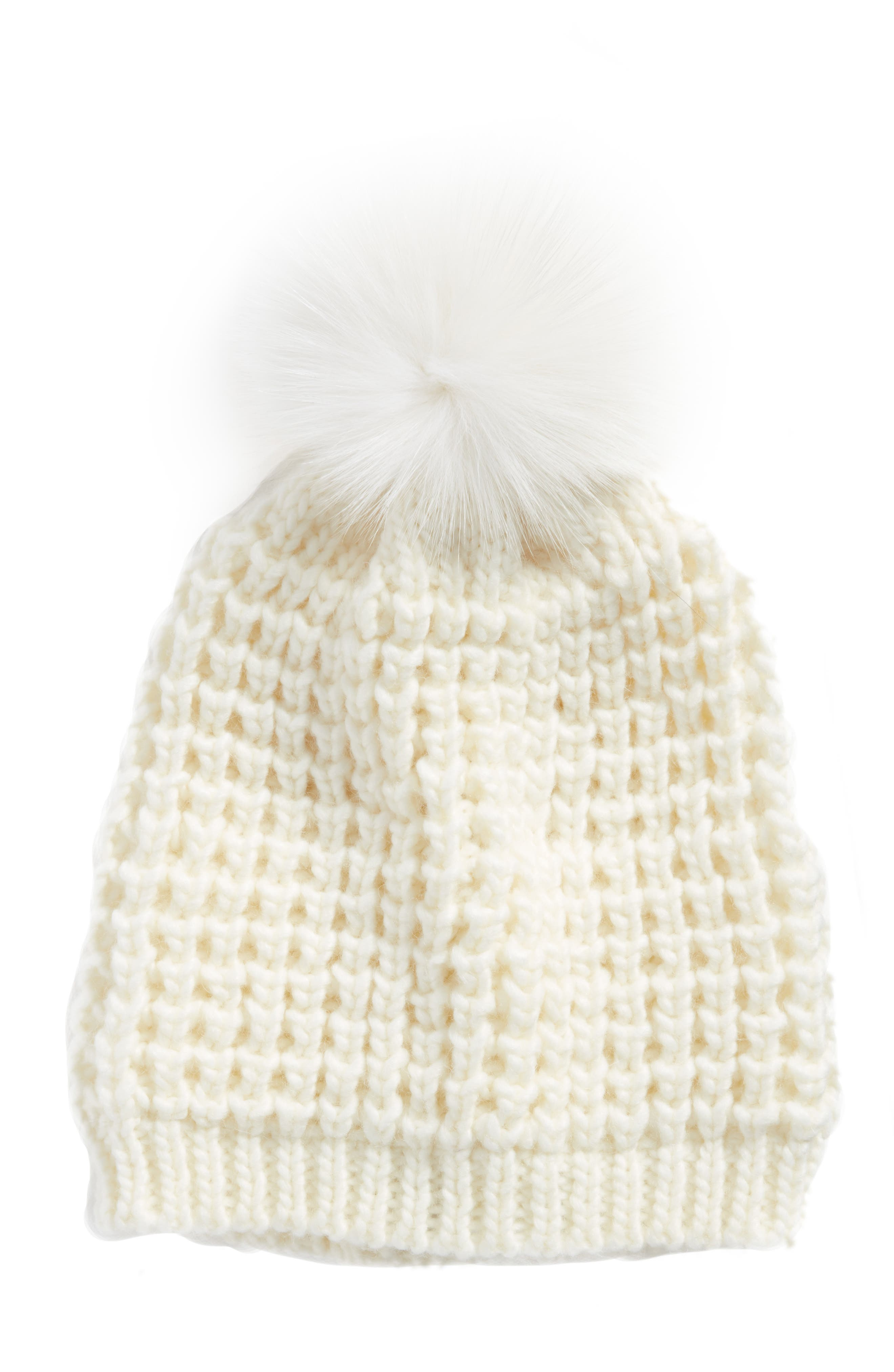 Genuine Fox Pompom Hat,                             Alternate thumbnail 22, color,