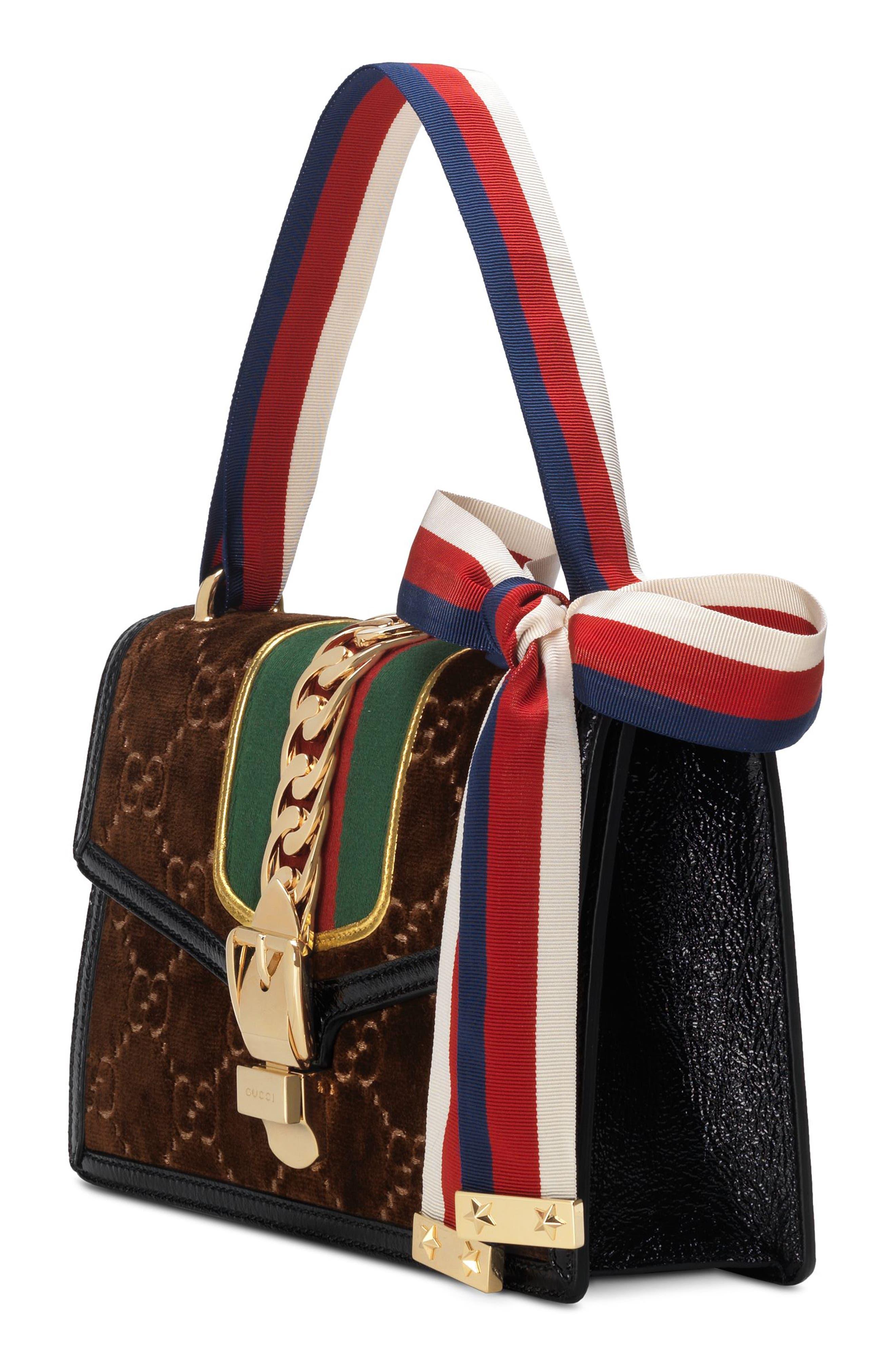 Small Sylvie Velvet Shoulder Bag,                             Alternate thumbnail 4, color,                             BROWN/ NERO/ VERT RED