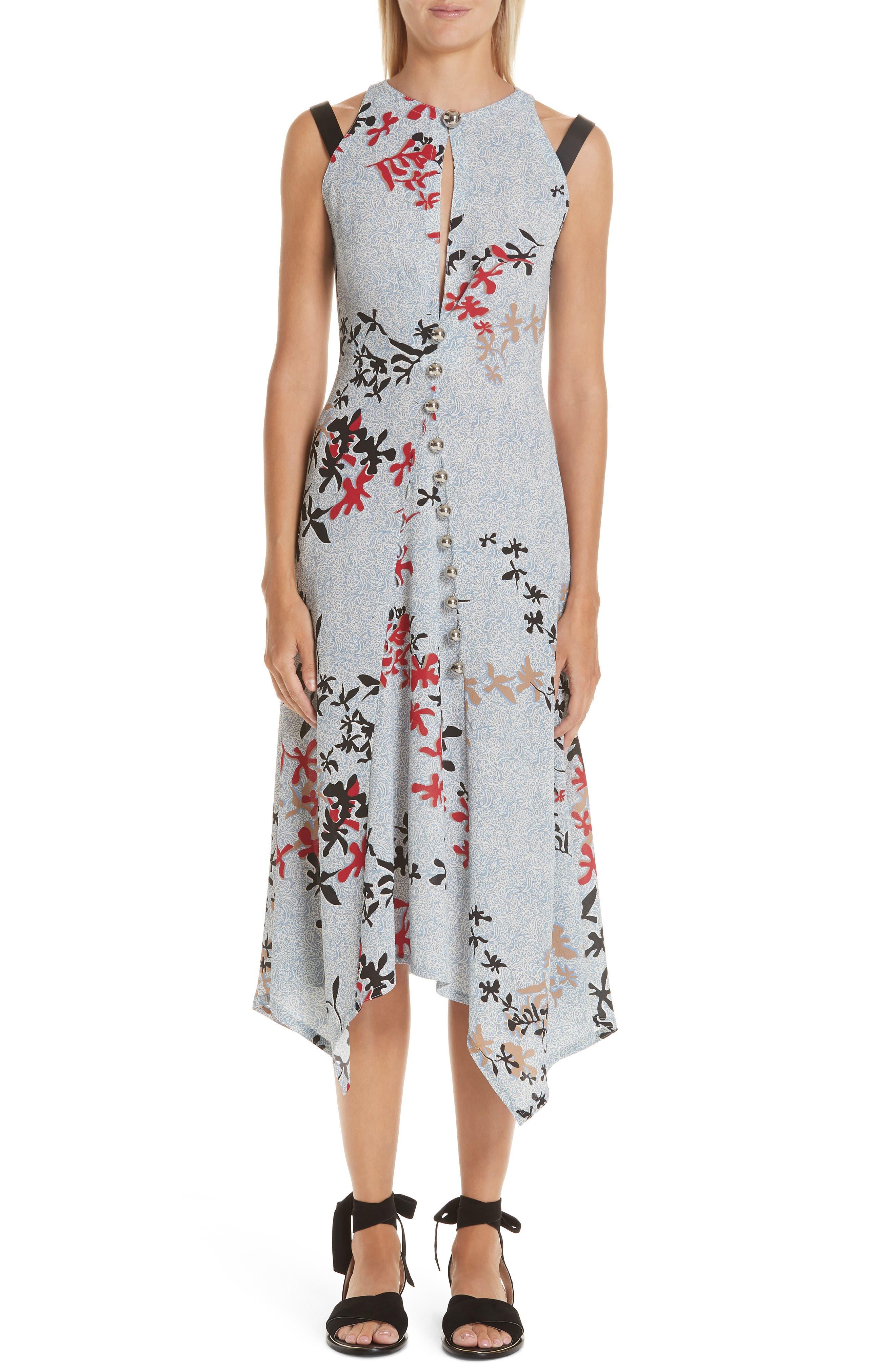 Yigal Azrouel Decoupe Floral Print Crepe Dress, Blue