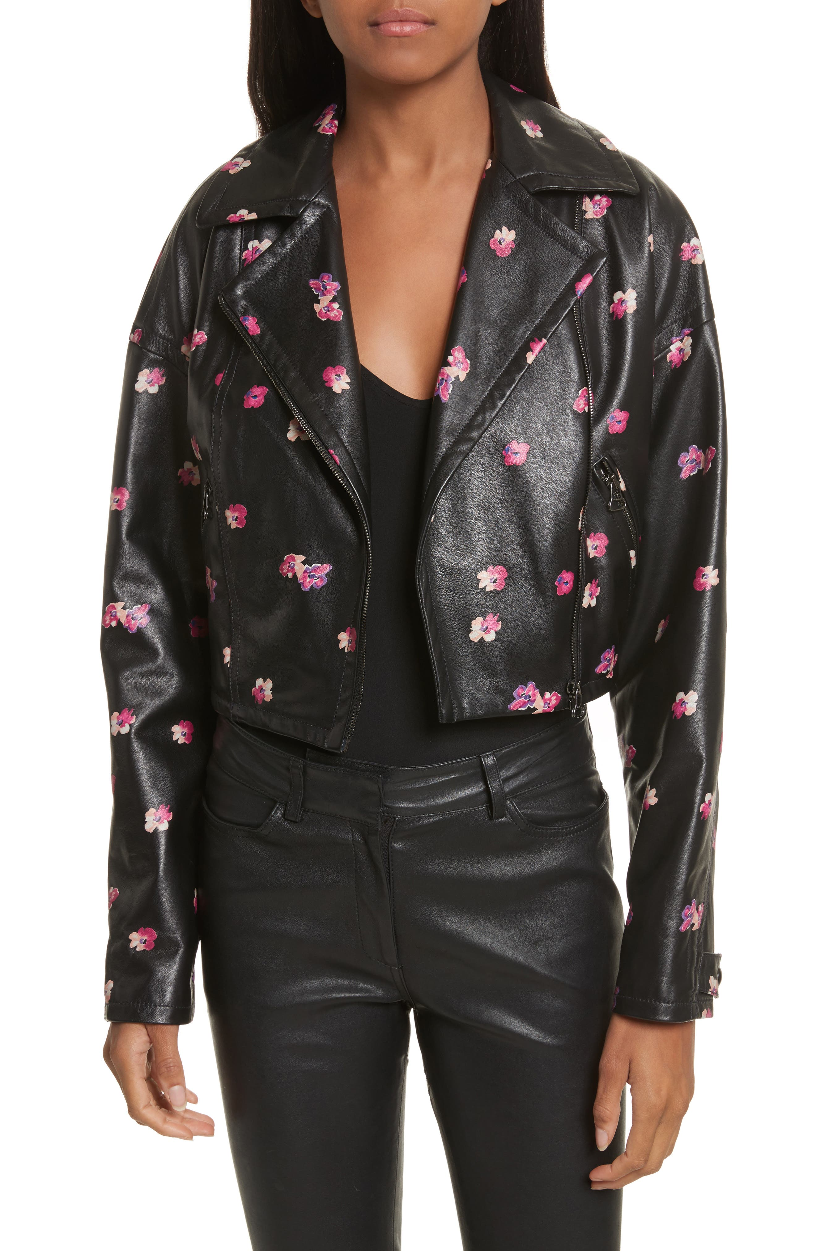Floriana Leather Jacket,                         Main,                         color, BLACK COMBO