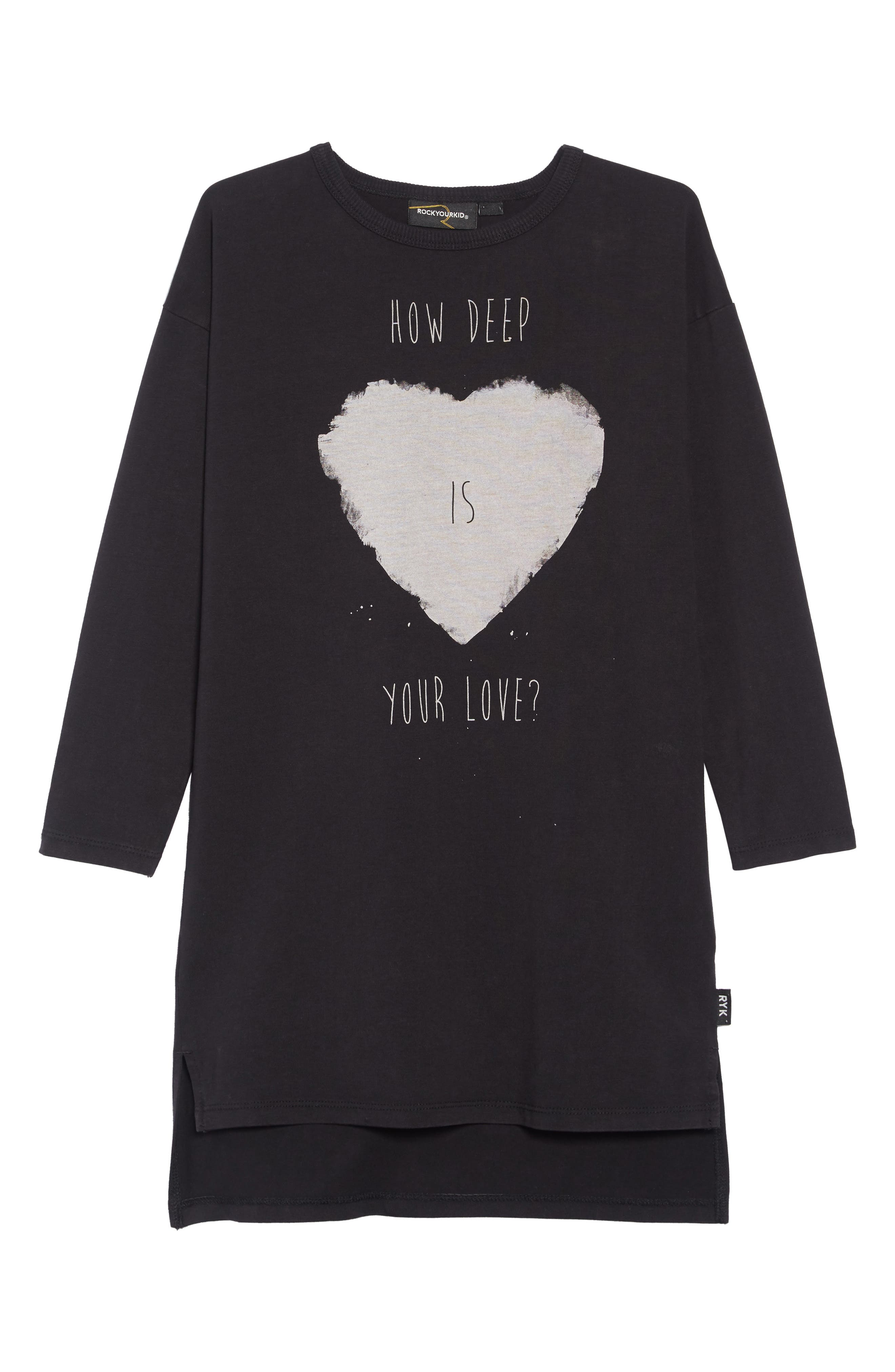 Your Love T-Shirt Dress,                             Main thumbnail 1, color,                             BLACK