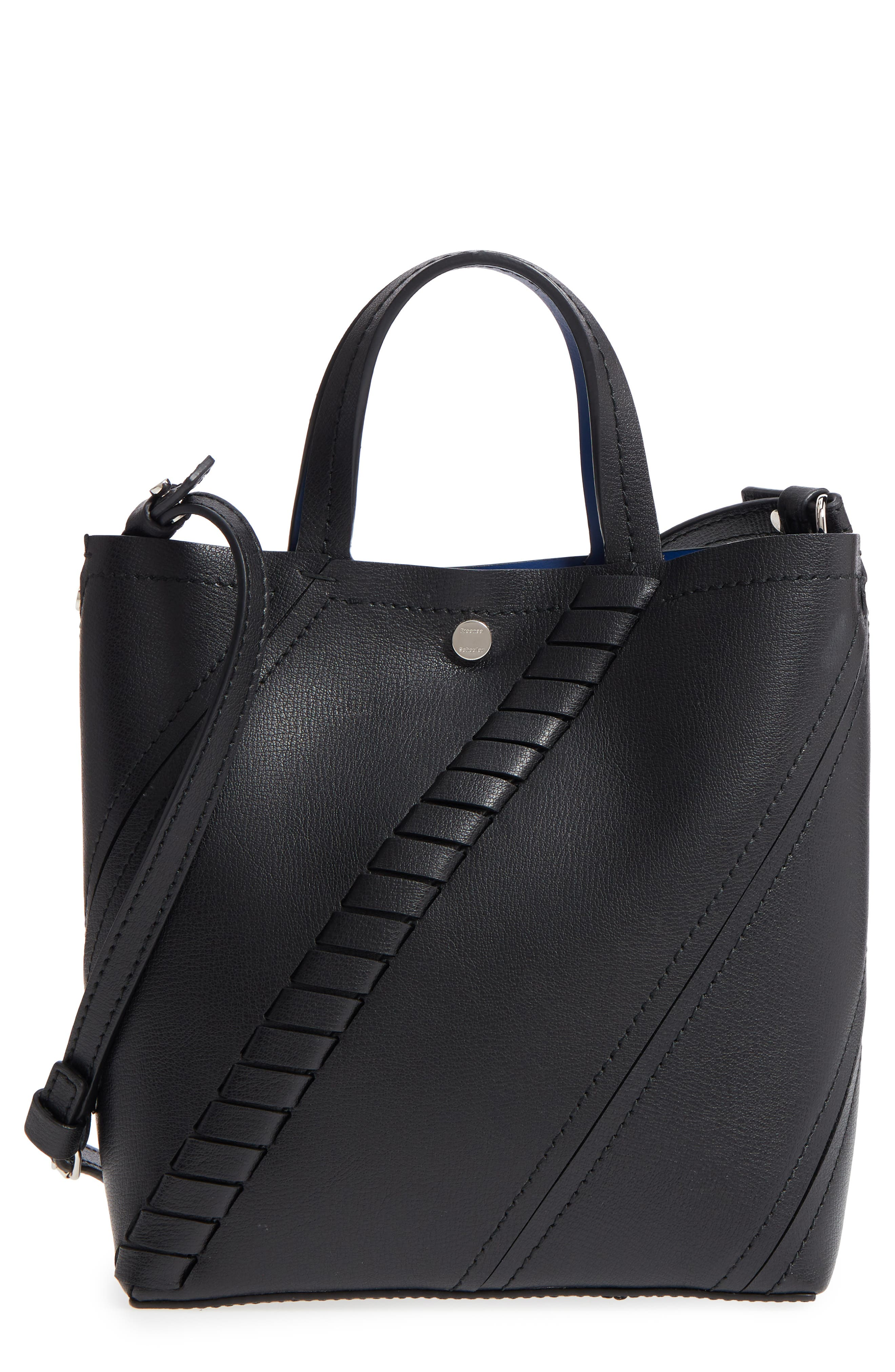 Mini Hex Whipstitch Calfskin Leather Tote,                             Main thumbnail 1, color,                             BLACK