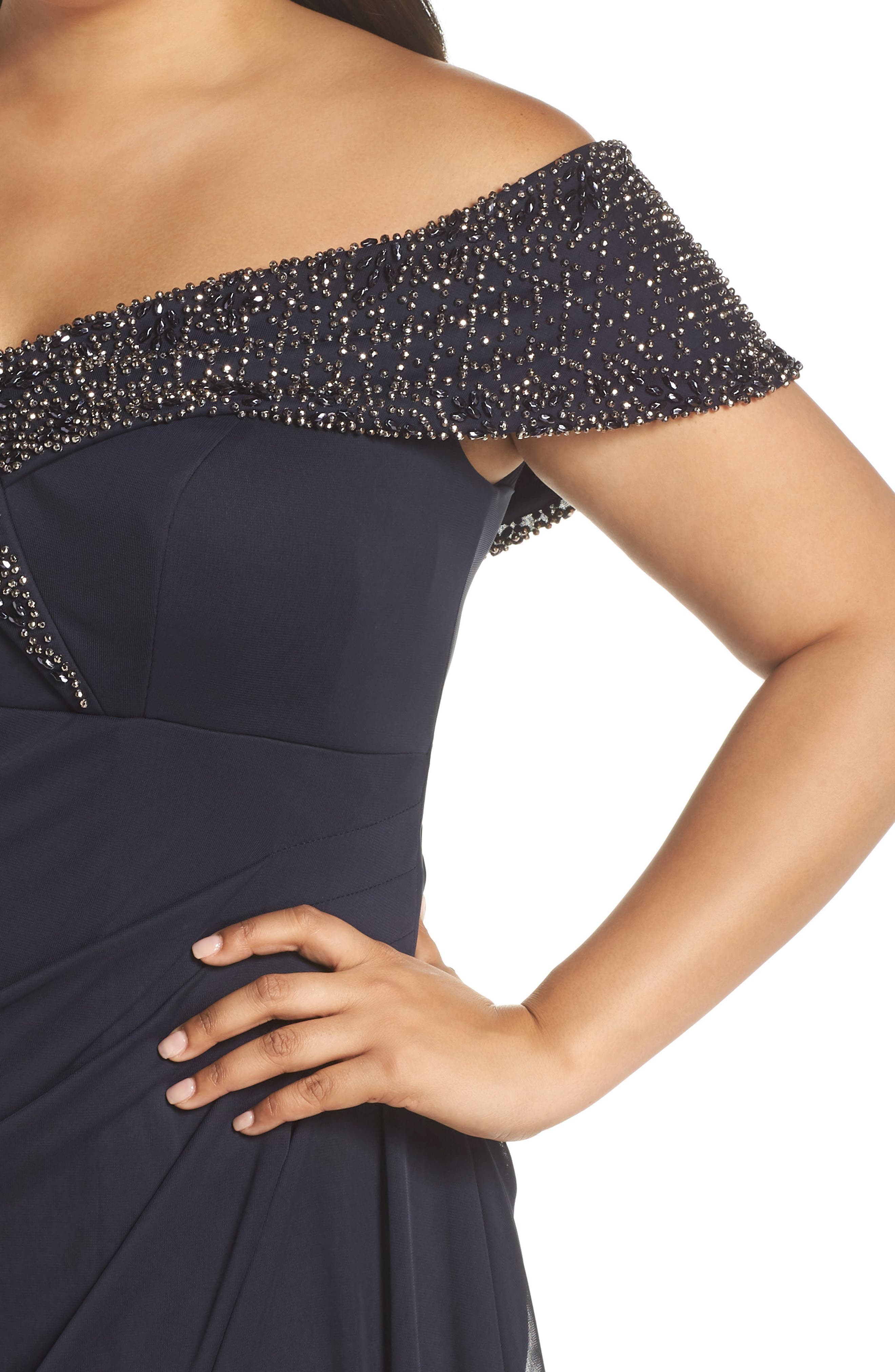Beaded Off the Shoulder Gown,                             Alternate thumbnail 4, color,                             NAVY/ GUNMETAL