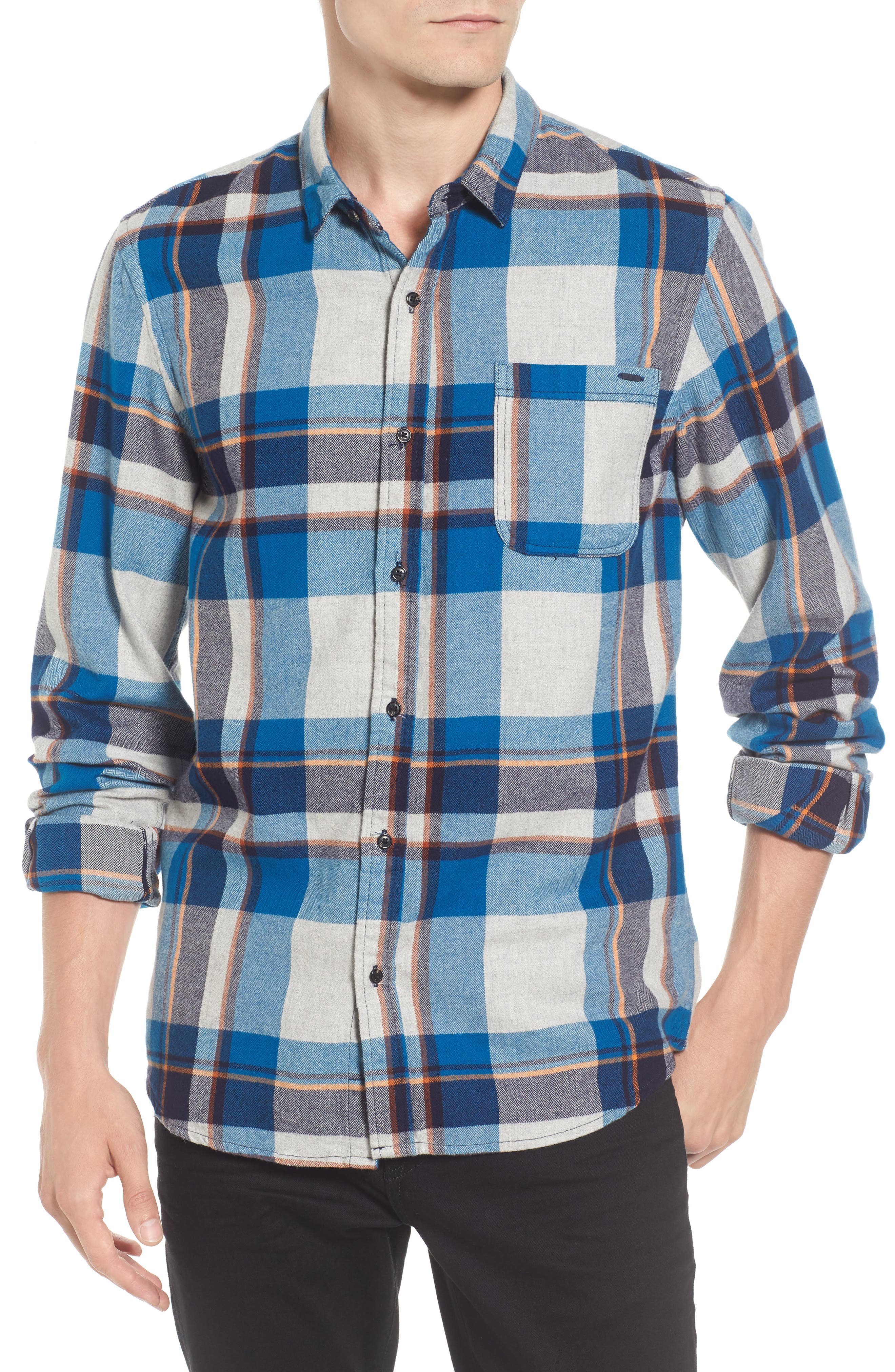 Brushed Flannel Plaid Shirt,                             Main thumbnail 1, color,                             111