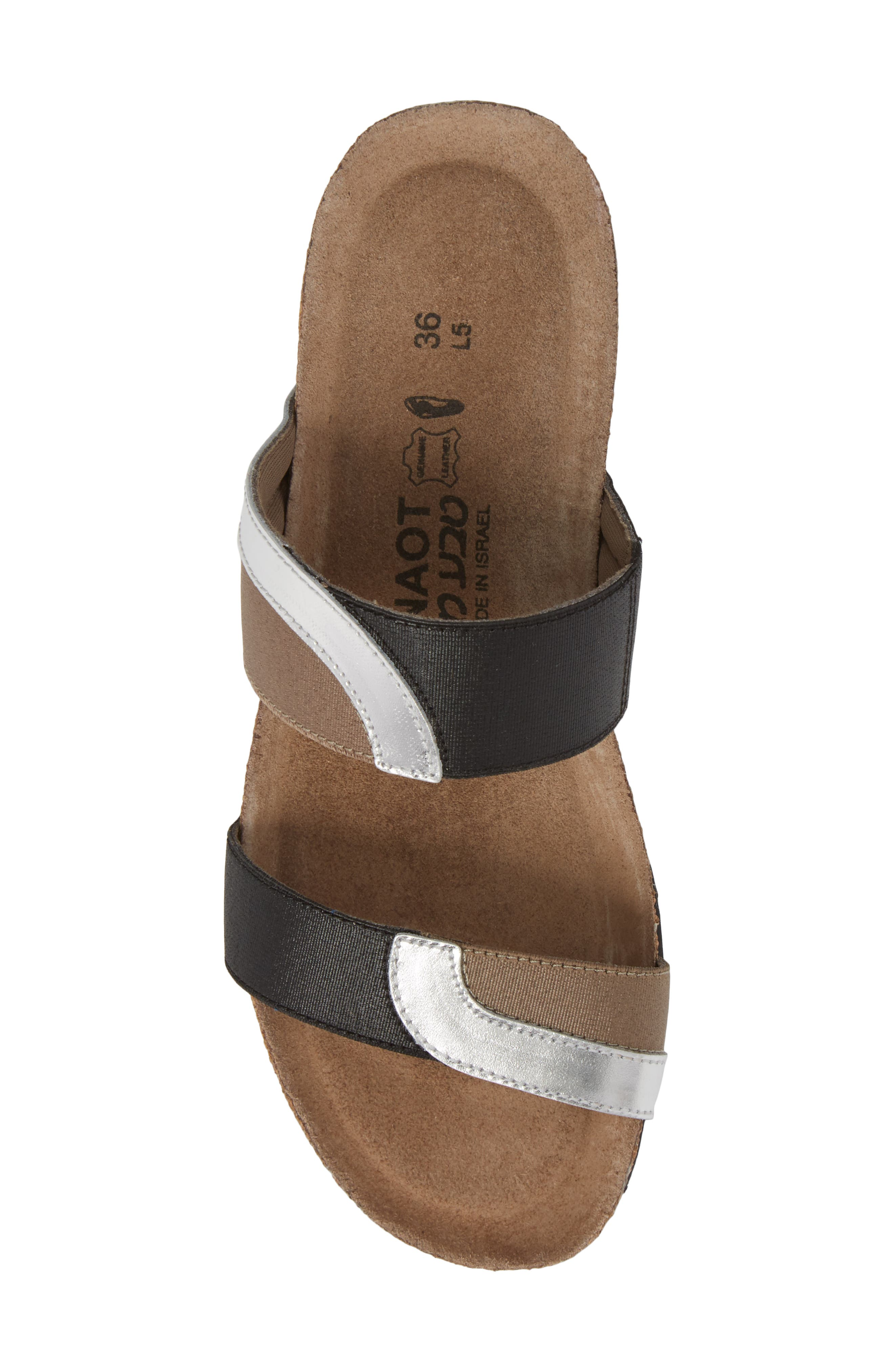 Frankie Slide Sandal,                             Alternate thumbnail 5, color,                             SILVER MIRROR LEATHER