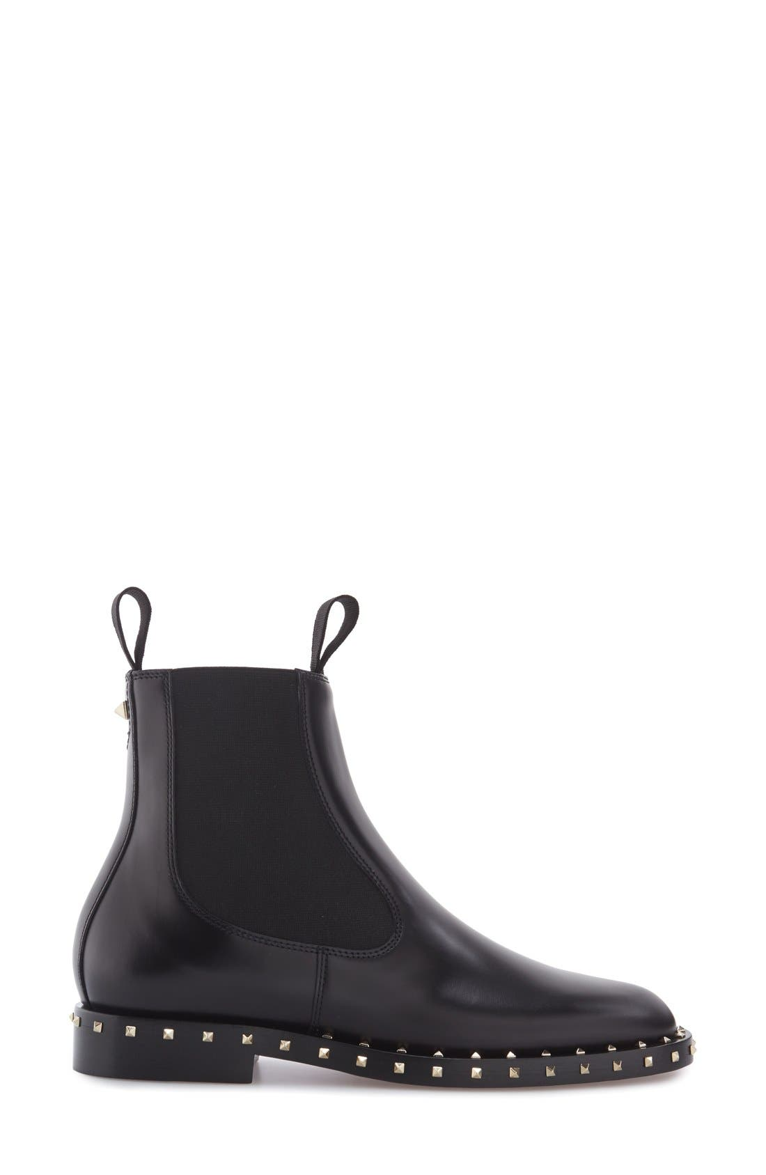 Rockstud Chelsea Boot,                             Alternate thumbnail 4, color,                             001