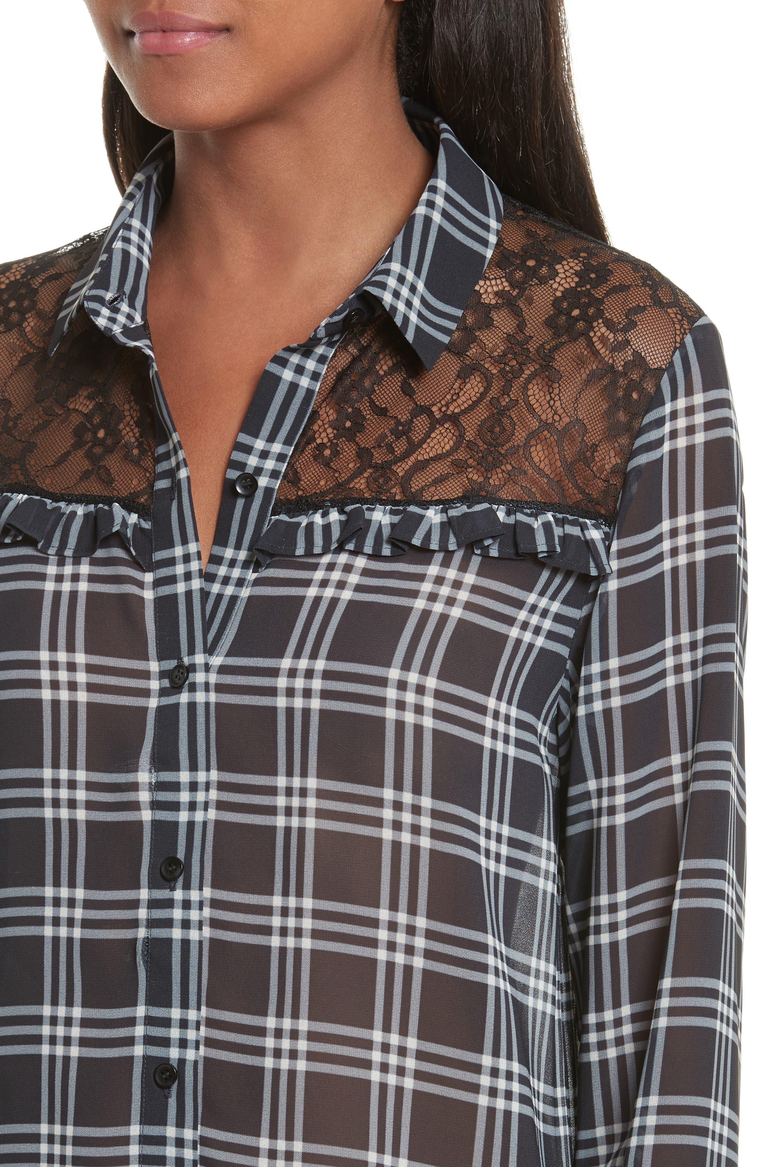 Lace Yoke Plaid Shirt,                             Alternate thumbnail 4, color,                             001
