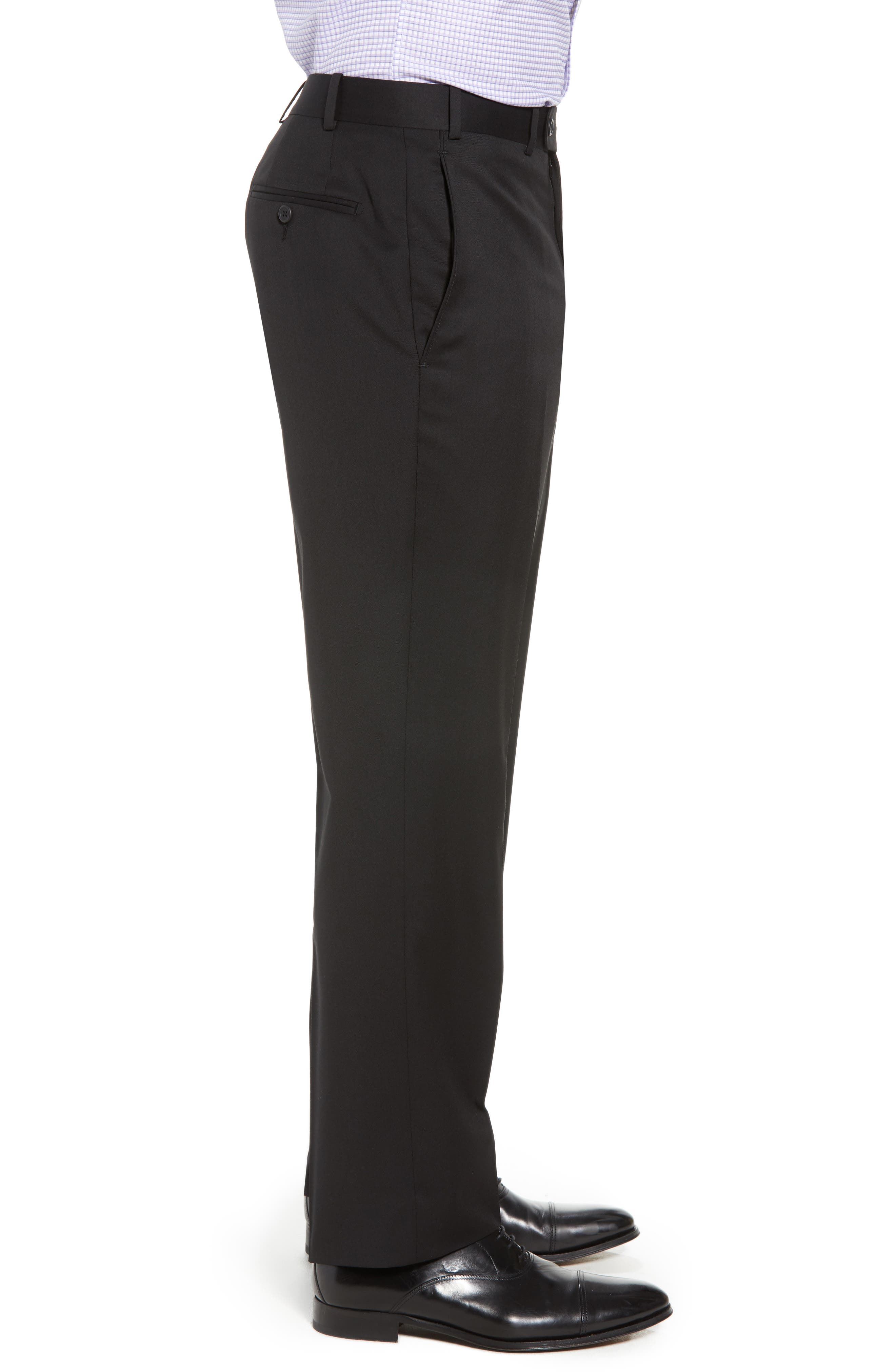 Torino Flat Front Wool Gabardine Trousers,                             Alternate thumbnail 3, color,                             001