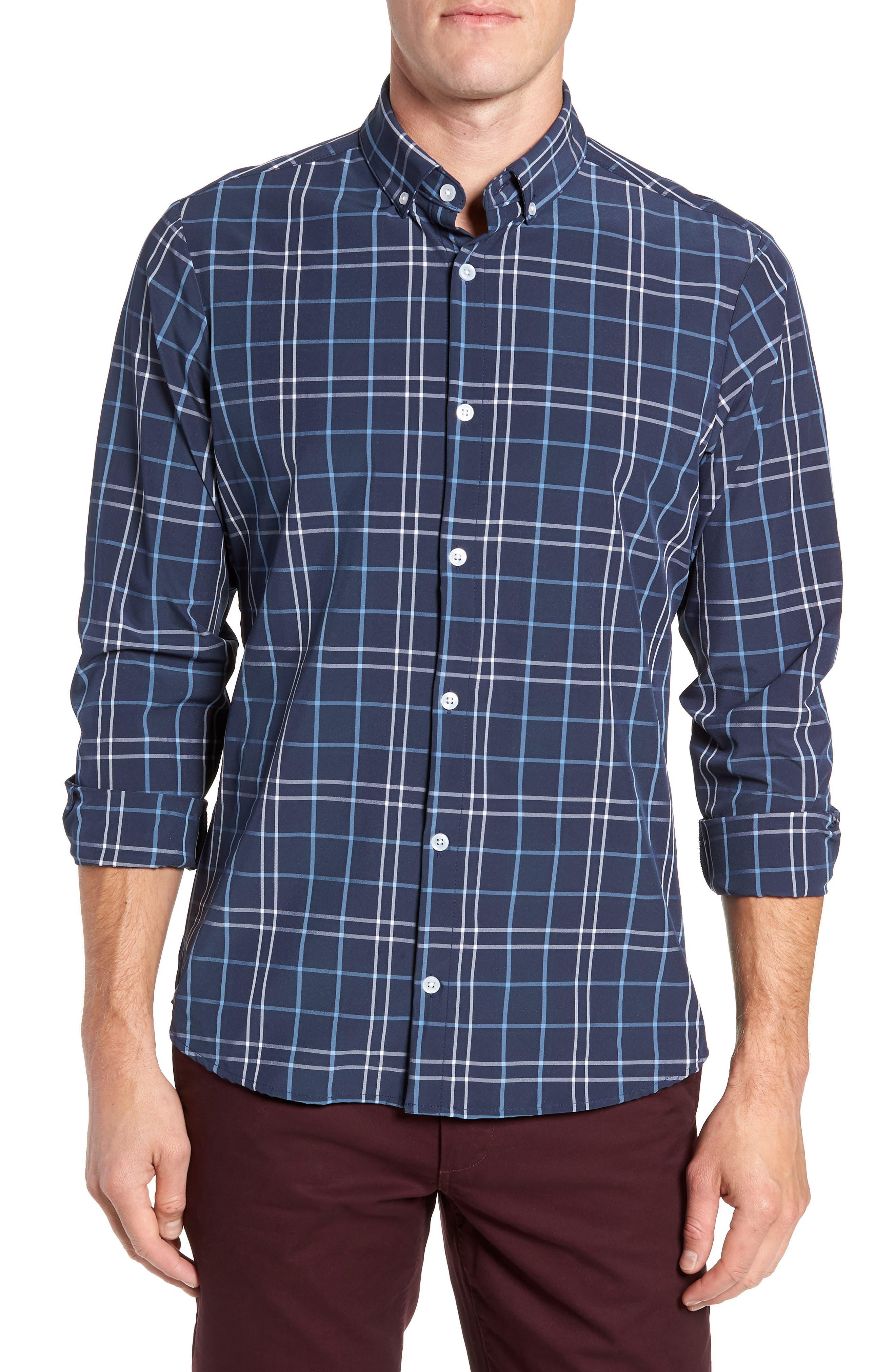 Travis Plaid Sport Shirt,                         Main,                         color, NAVY