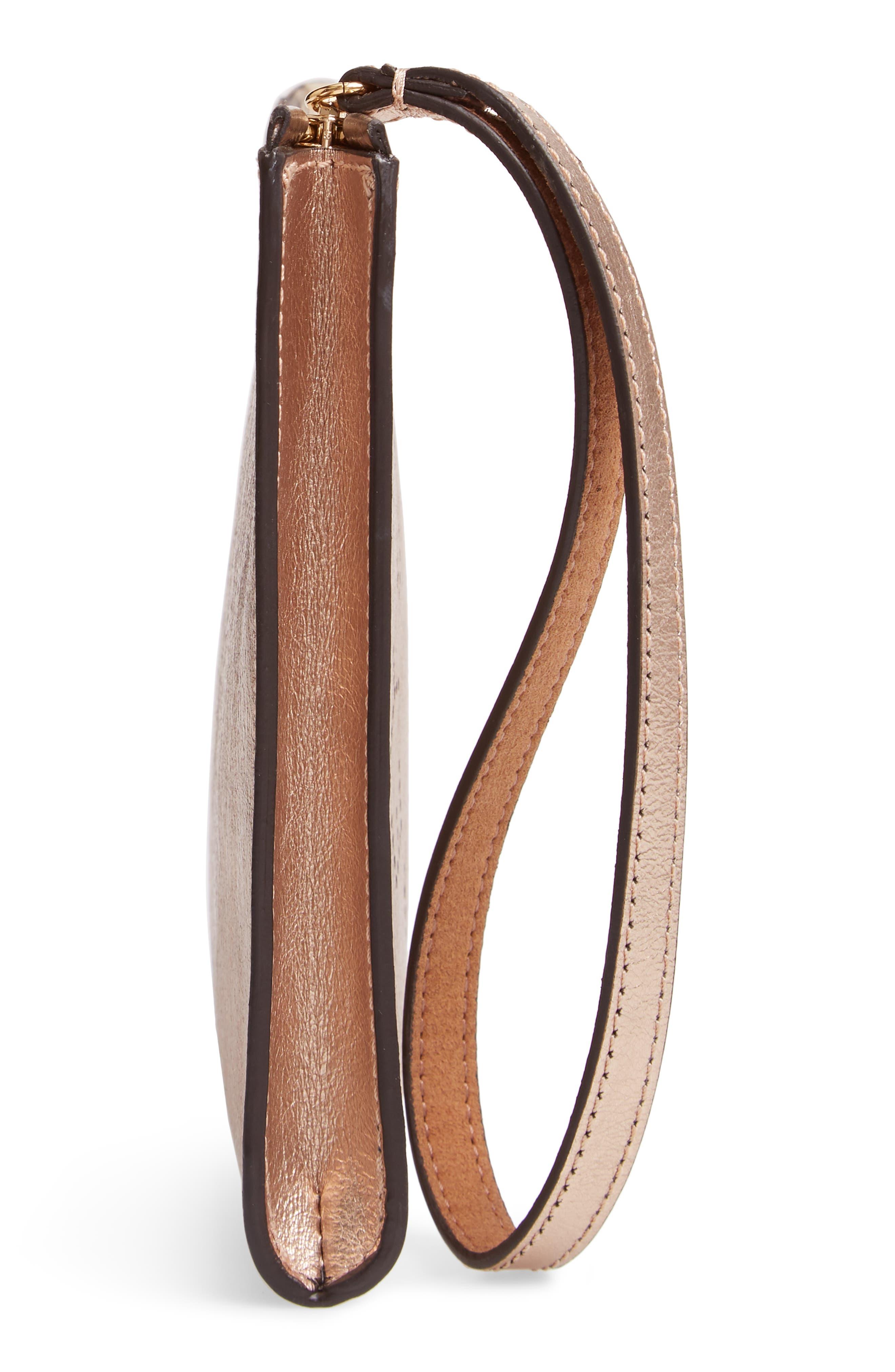 Metallic Faux Nappa Leather Wristlet Clutch,                             Alternate thumbnail 5, color,                             ROSE GOLD