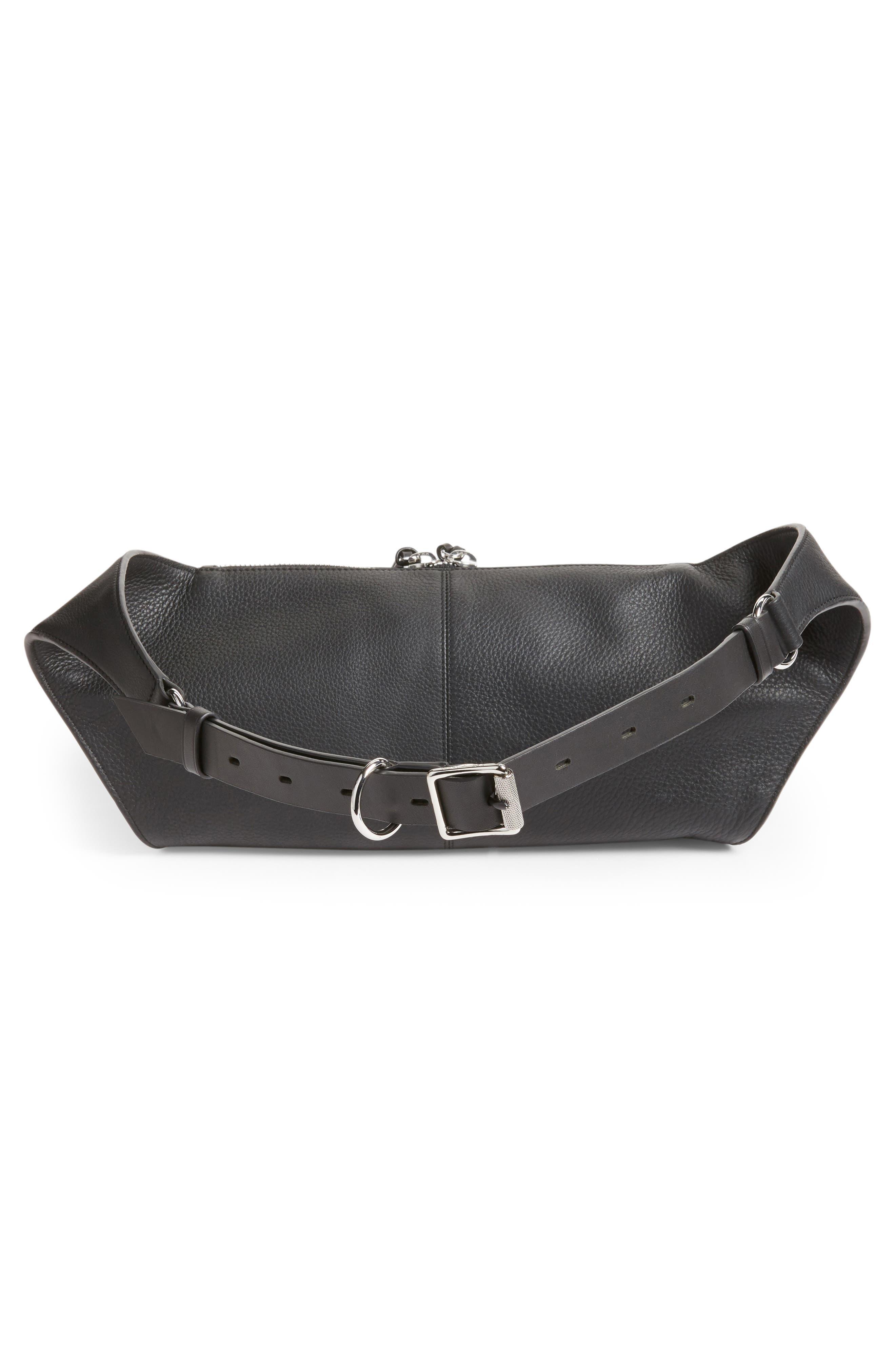 Leather Belt Bag,                             Alternate thumbnail 3, color,                             BLACK