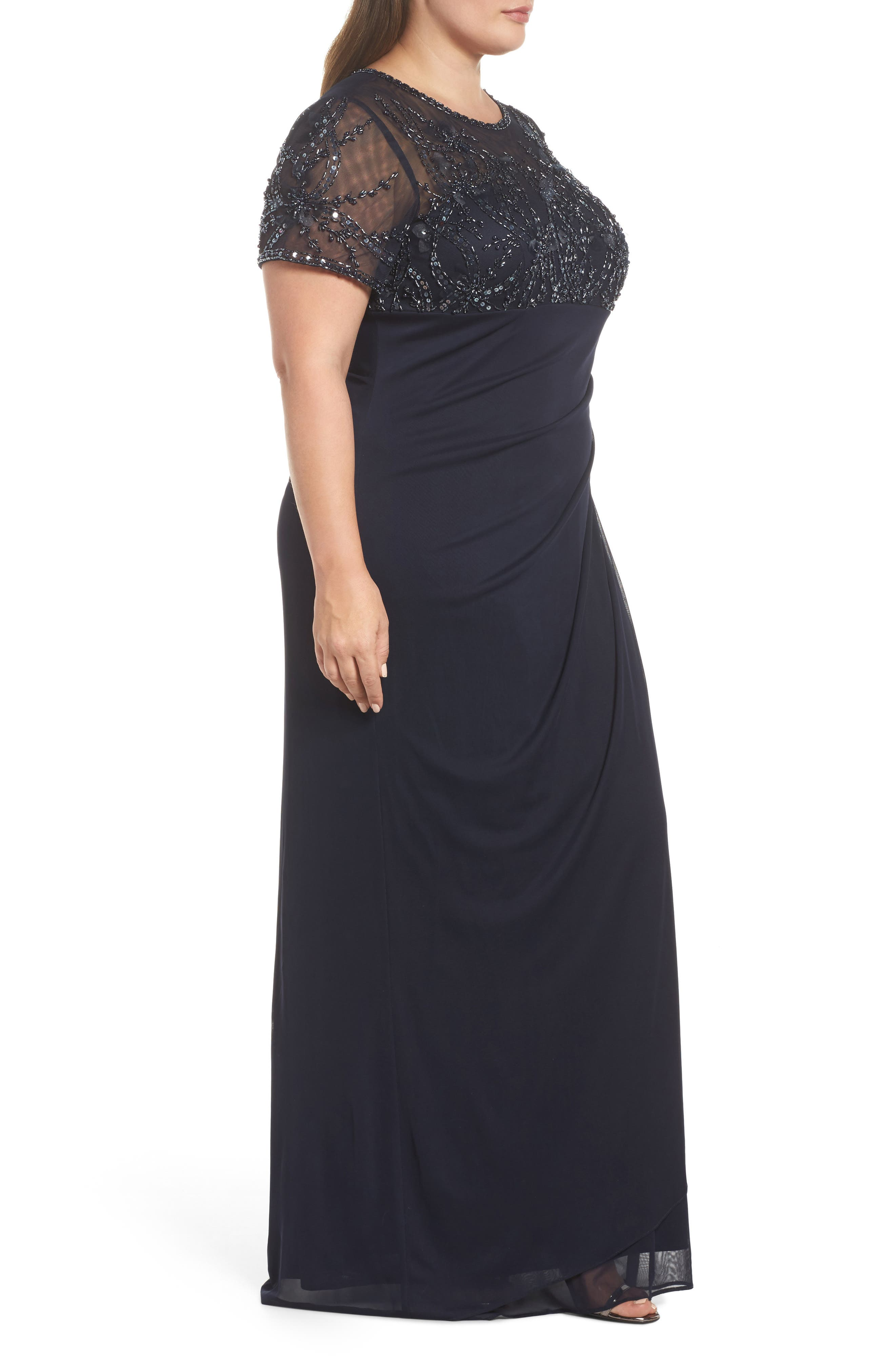 Ruched Beaded Gown,                             Alternate thumbnail 3, color,                             NAVY