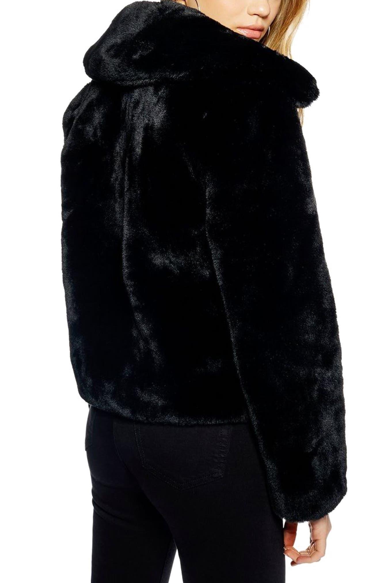 Faux Fur Jacket,                             Alternate thumbnail 2, color,                             BLACK