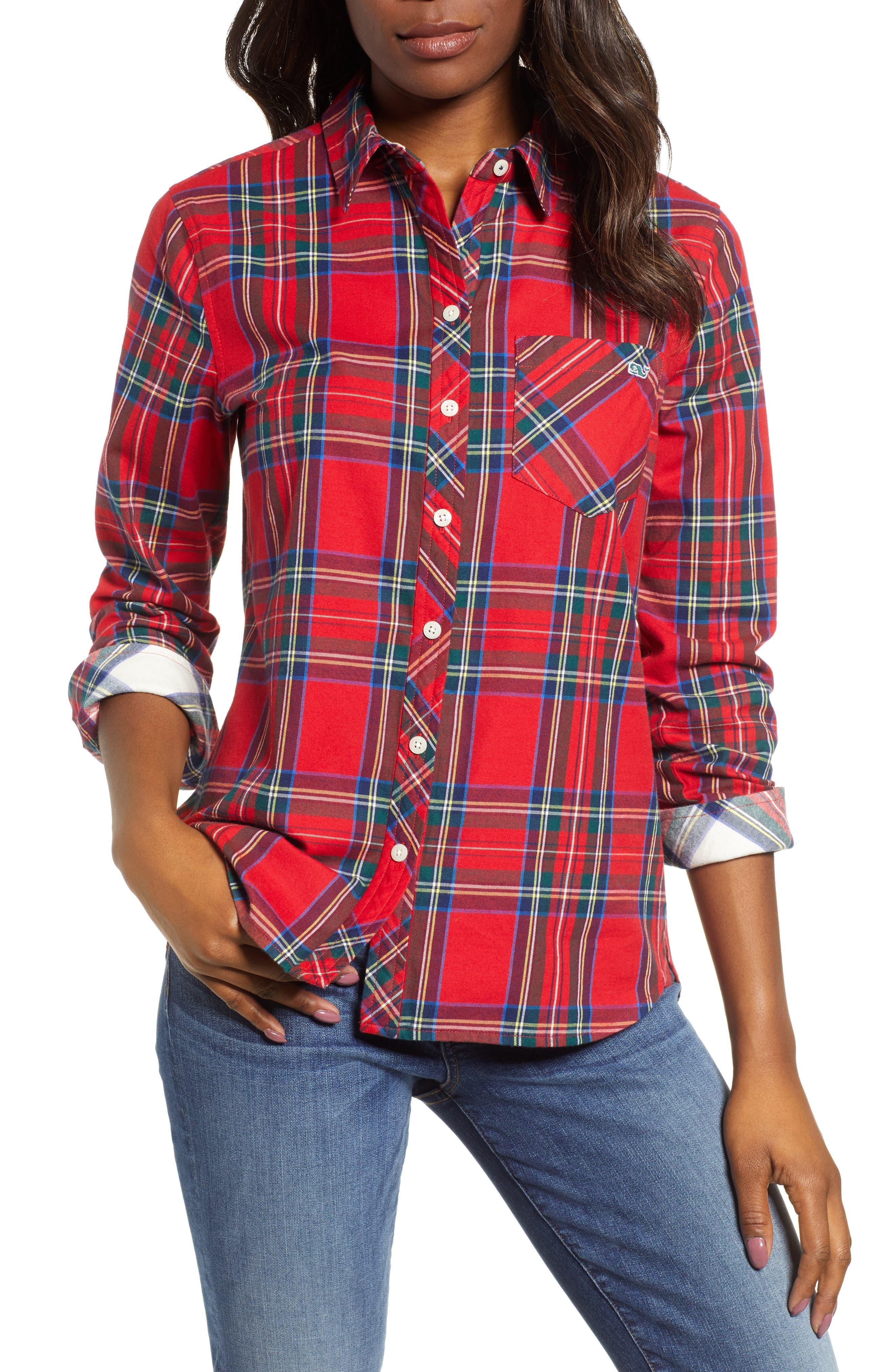 Morgan Jolly Plaid Flannel Shirt,                             Main thumbnail 1, color,                             600