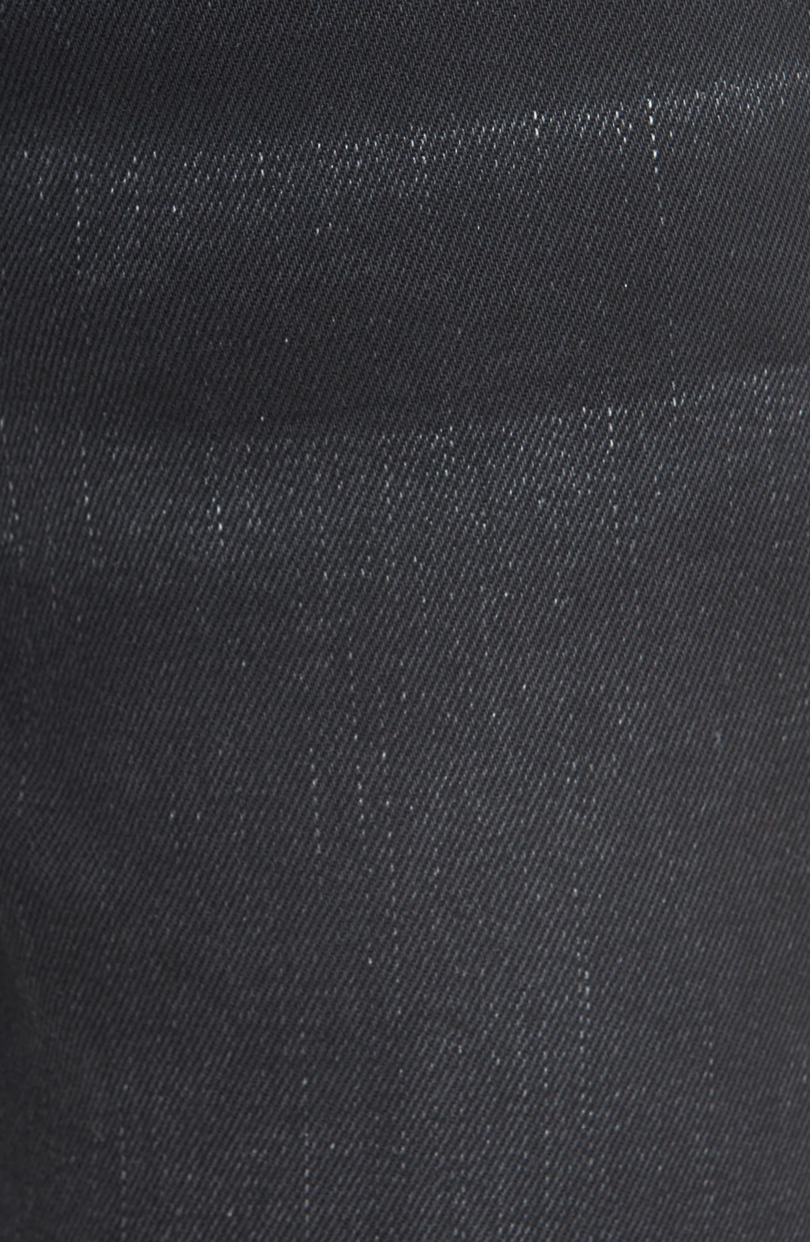 Distressed Slim Fit Jeans,                             Alternate thumbnail 5, color,                             BLACK