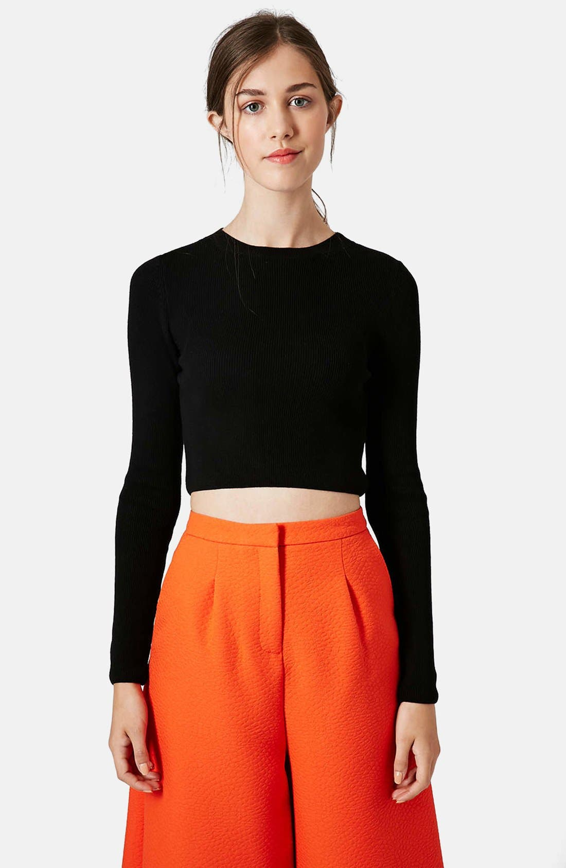 Ribbed Crop Sweater,                         Main,                         color, 001