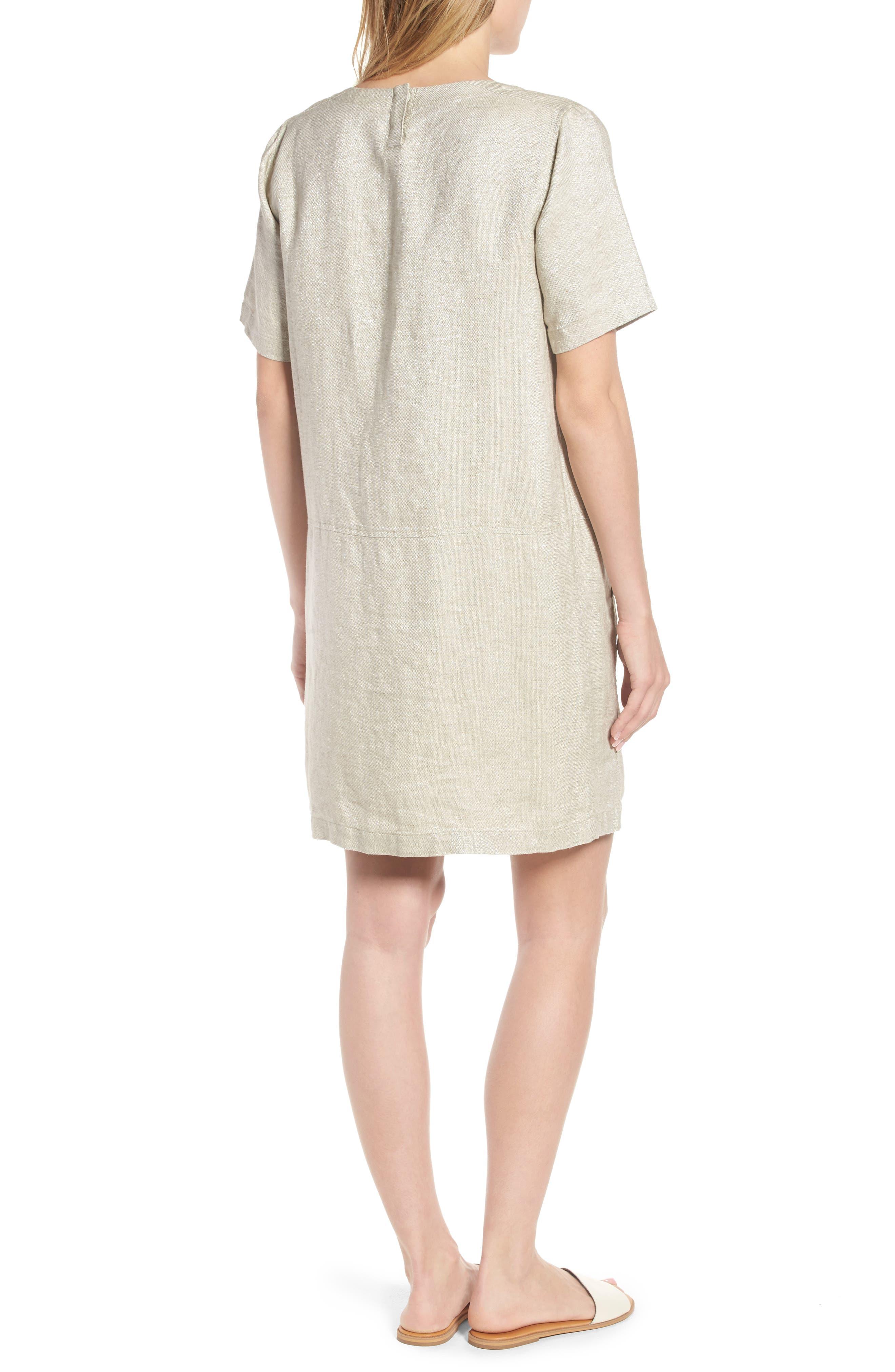 Scoop Neck Linen Blend Dress,                             Alternate thumbnail 2, color,                             257