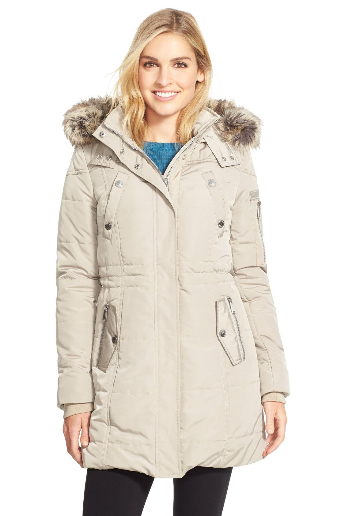 BCBGENERATION,                             FauxFur Trim Hooded Quilted Coat,                             Main thumbnail 1, color,                             275