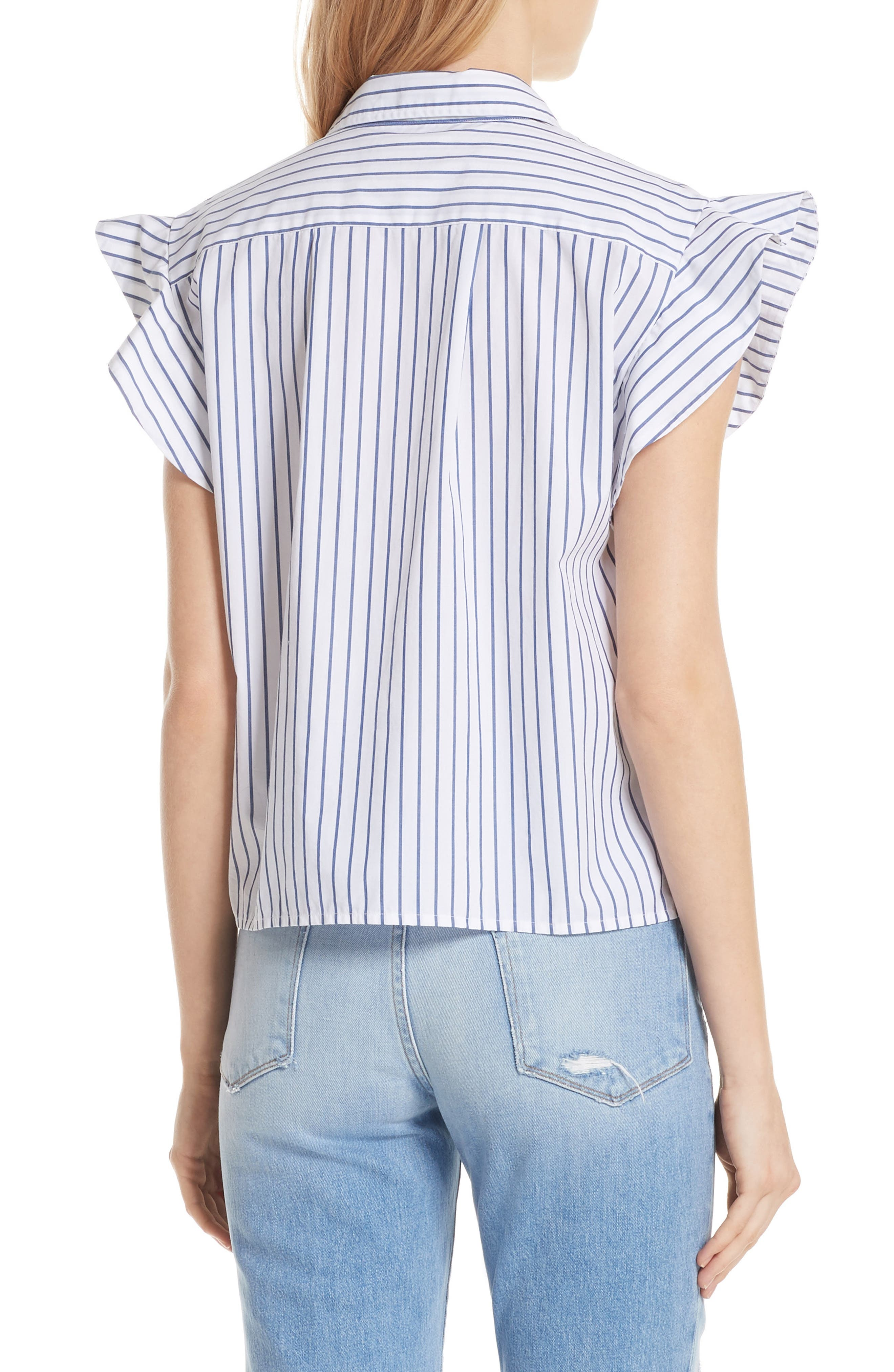 Flutter Sleeve Stripe Shirt,                             Alternate thumbnail 2, color,                             120