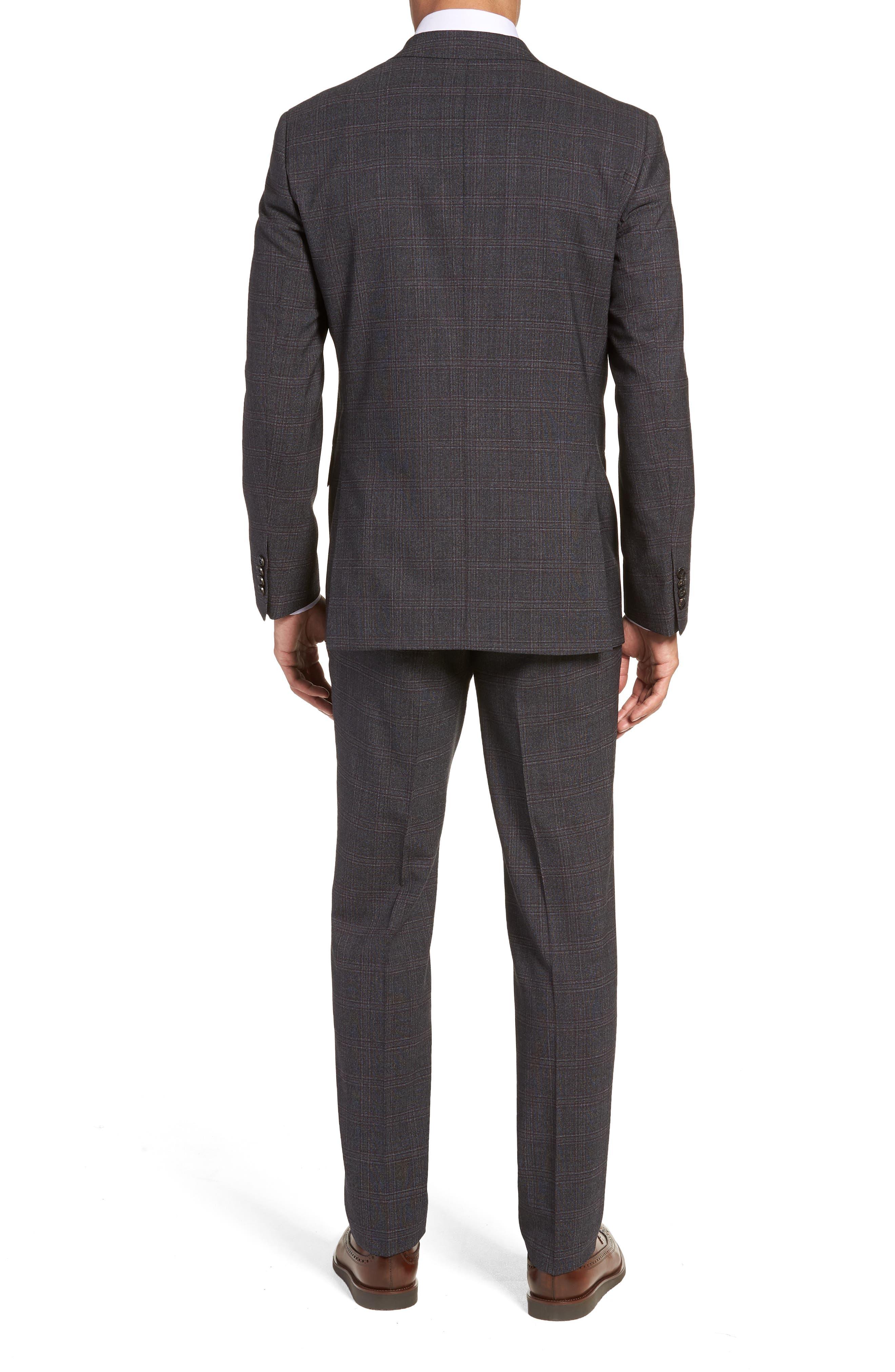 Jay Trim Fit Plaid Wool Suit,                             Alternate thumbnail 2, color,                             CHARCOAL